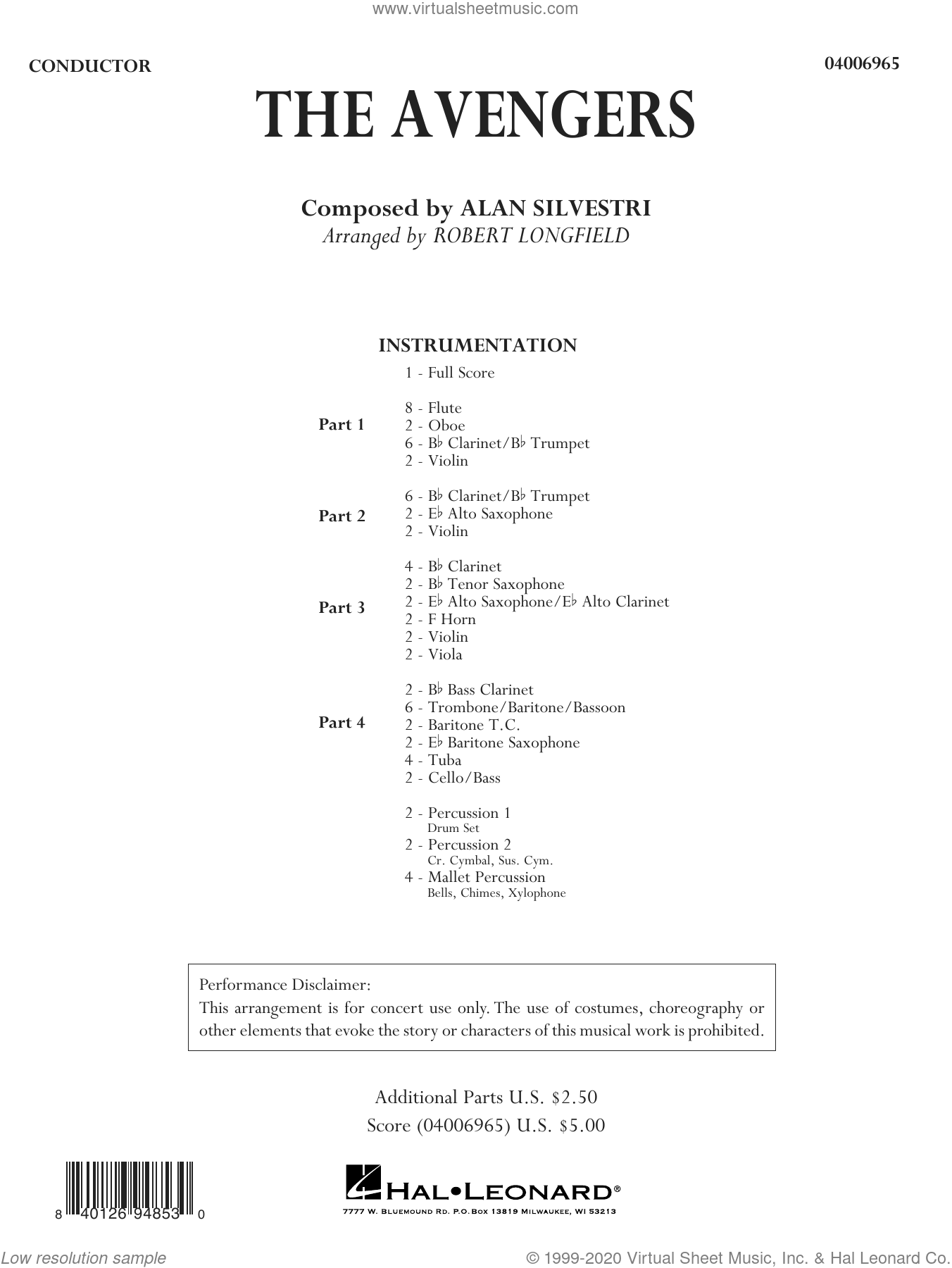 The Avengers (arr. Robert Longfield) (COMPLETE) sheet music for concert band by Robert Longfield and Alan Silvestri, intermediate skill level