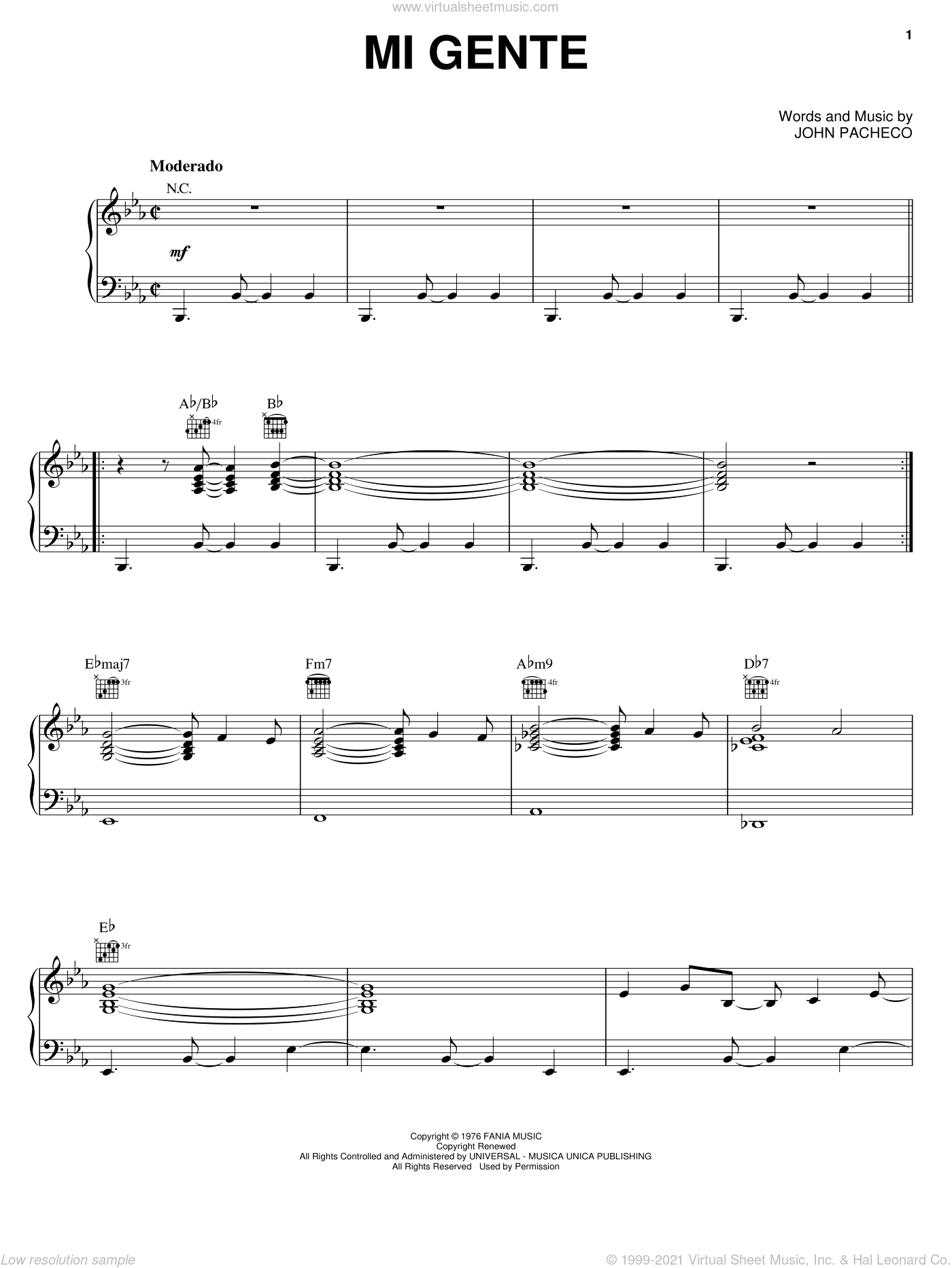 Mi Gente sheet music for voice, piano or guitar by Hector Lavoe and John Pacheco, intermediate skill level
