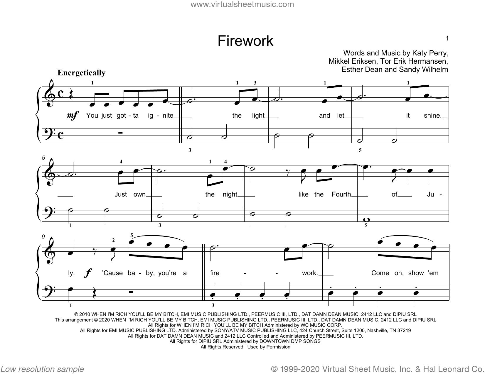 Firework sheet music for piano solo (elementary) by Katy Perry, John Thompson, Ester Dean, Mikkel Eriksen, Sandy Wilhelm and Tor Erik Hermansen, beginner piano (elementary)