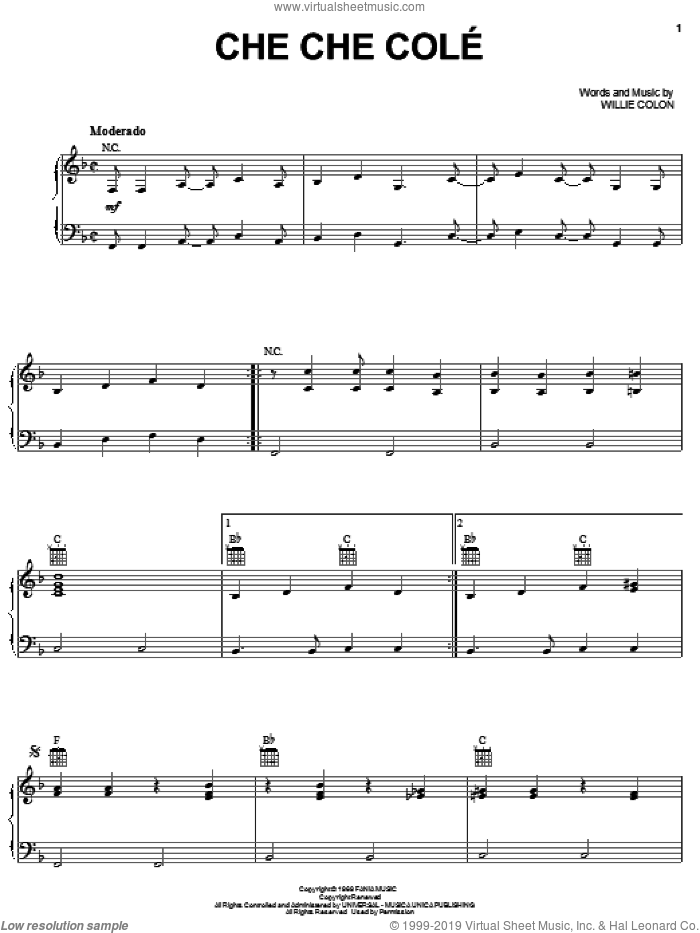 Che Che Cole sheet music for voice, piano or guitar by Hector Lavoe and Willie Colon, intermediate skill level