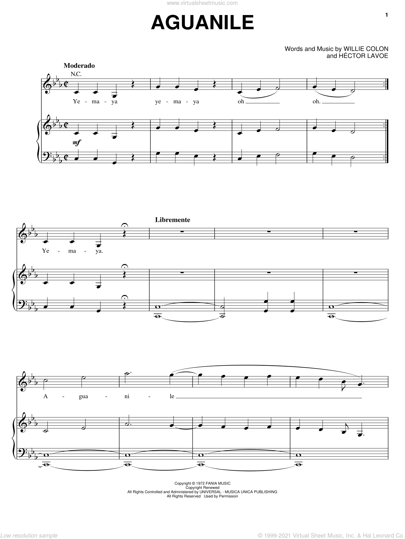 Aguanile sheet music for voice, piano or guitar by Hector Lavoe, intermediate. Score Image Preview.