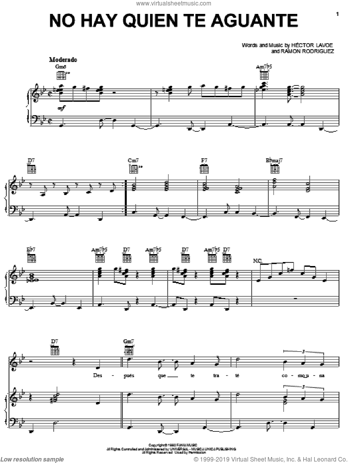 No Hay Quien Te Aguante sheet music for voice, piano or guitar by Hector Lavoe and Ramon Rodriguez, intermediate skill level