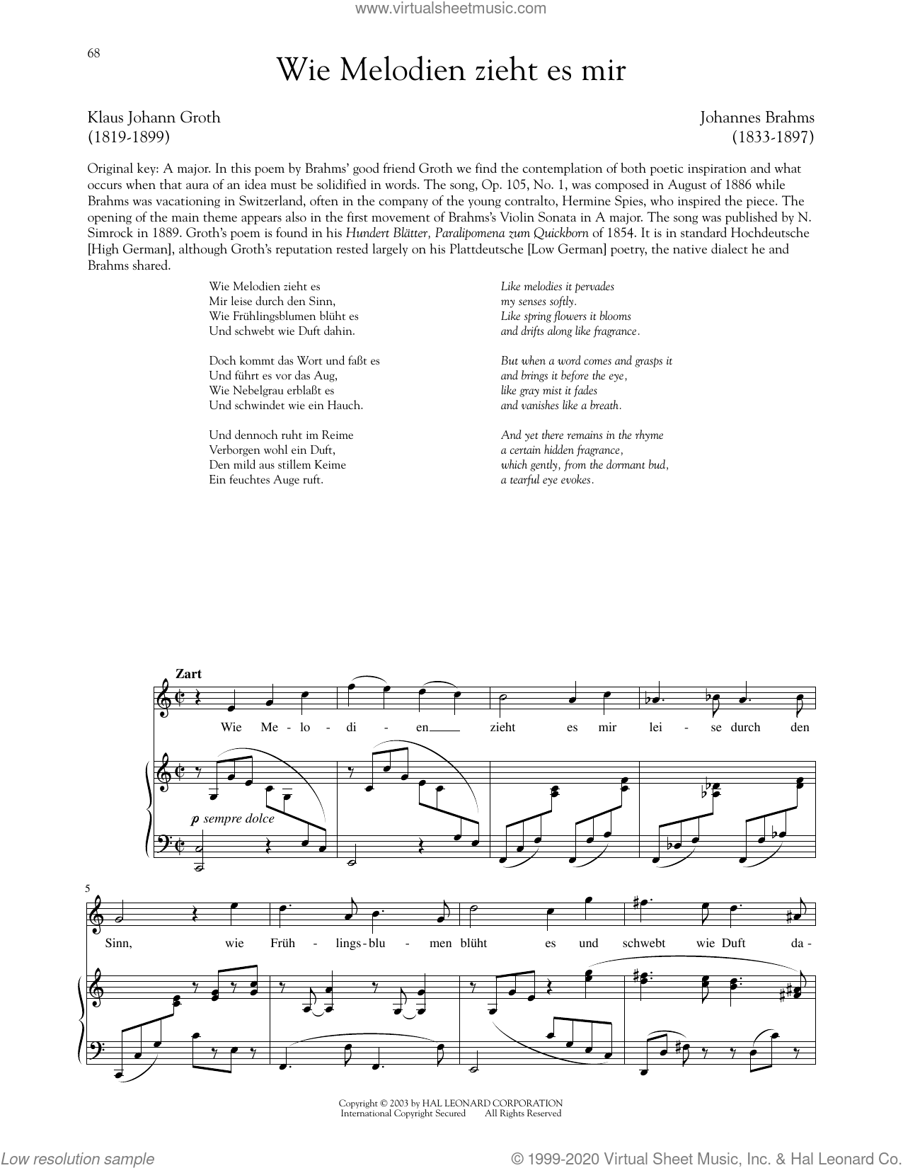 Wie Melodien Zieht Es Mir, Op. 105, No. 1 sheet music for voice and piano by Johannes Brahms and Richard Walters, classical score, intermediate skill level