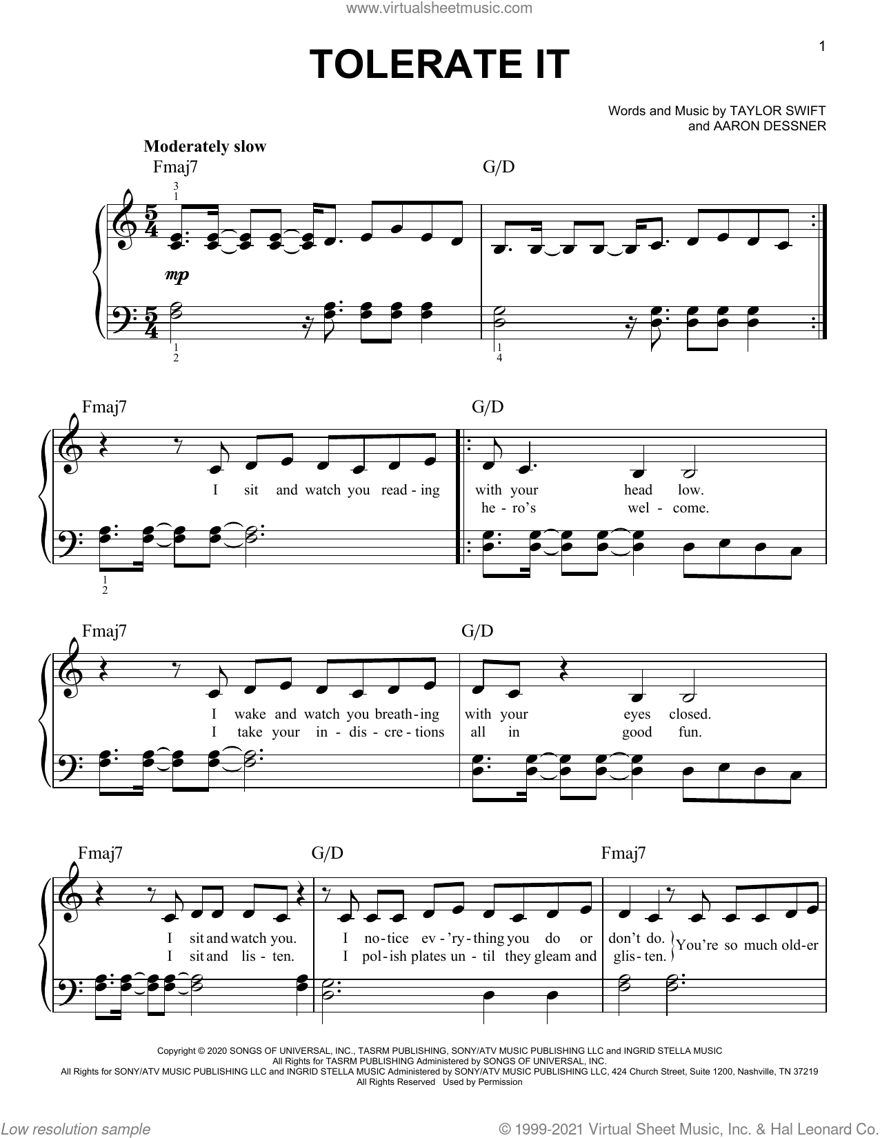 tolerate it sheet music for piano solo by Taylor Swift and Aaron Dessner, easy skill level