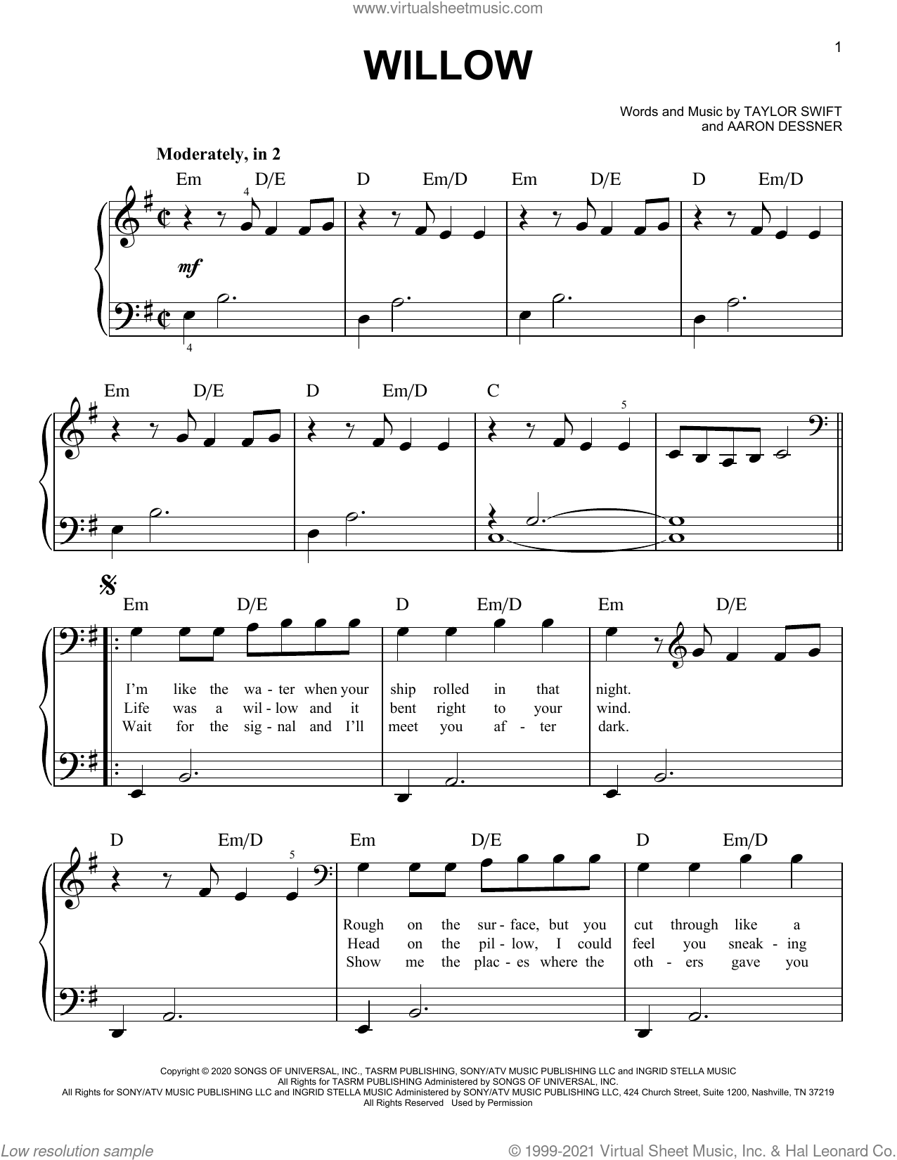 willow sheet music for piano solo by Taylor Swift and Aaron Dessner, easy skill level