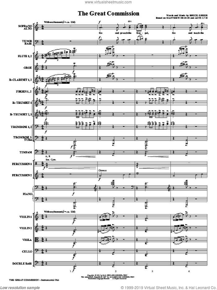 The Great Commission sheet music for orchestra/band (full score) by Bruce Greer