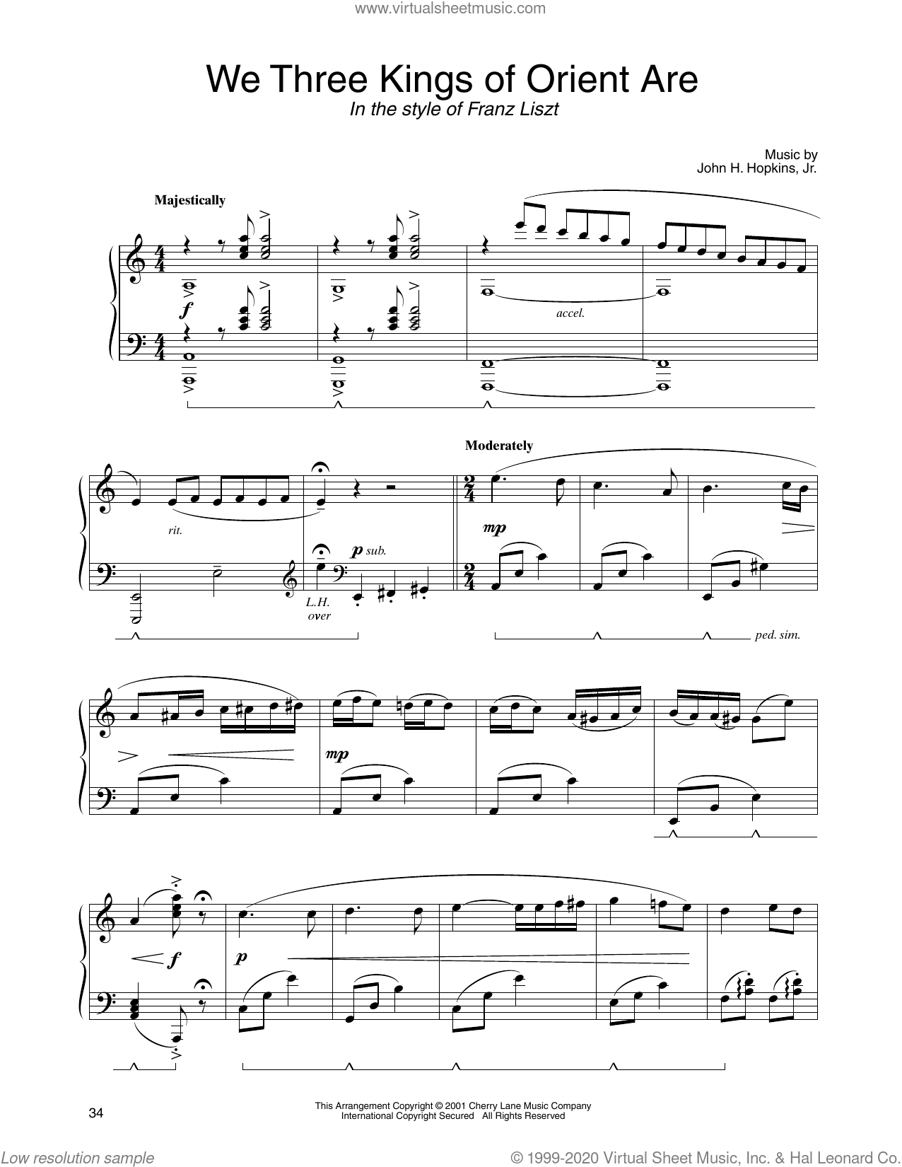 We Three Kings Of Orient Are (in the style of Franz Liszt) (arr. Carol Klose) sheet music for piano solo by John H. Hopkins, Jr. and Carol Klose, classical score, intermediate skill level