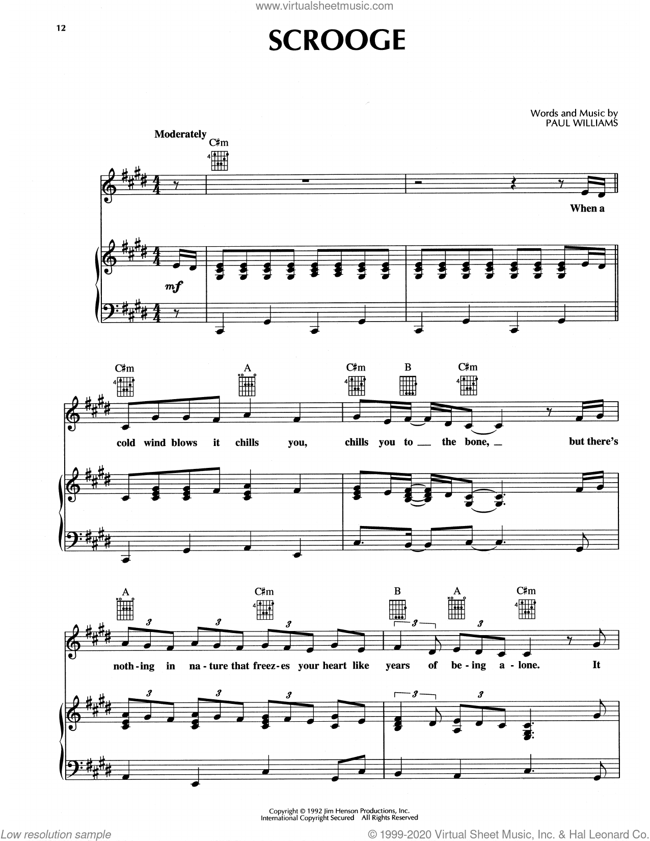 Scrooge (from The Muppet Christmas Carol) sheet music for voice, piano or guitar by Paul Williams, intermediate skill level