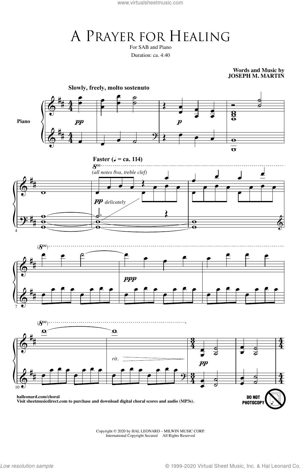 A Prayer For Healing sheet music for choir (SAB: soprano, alto, bass) by Joseph M. Martin, intermediate skill level