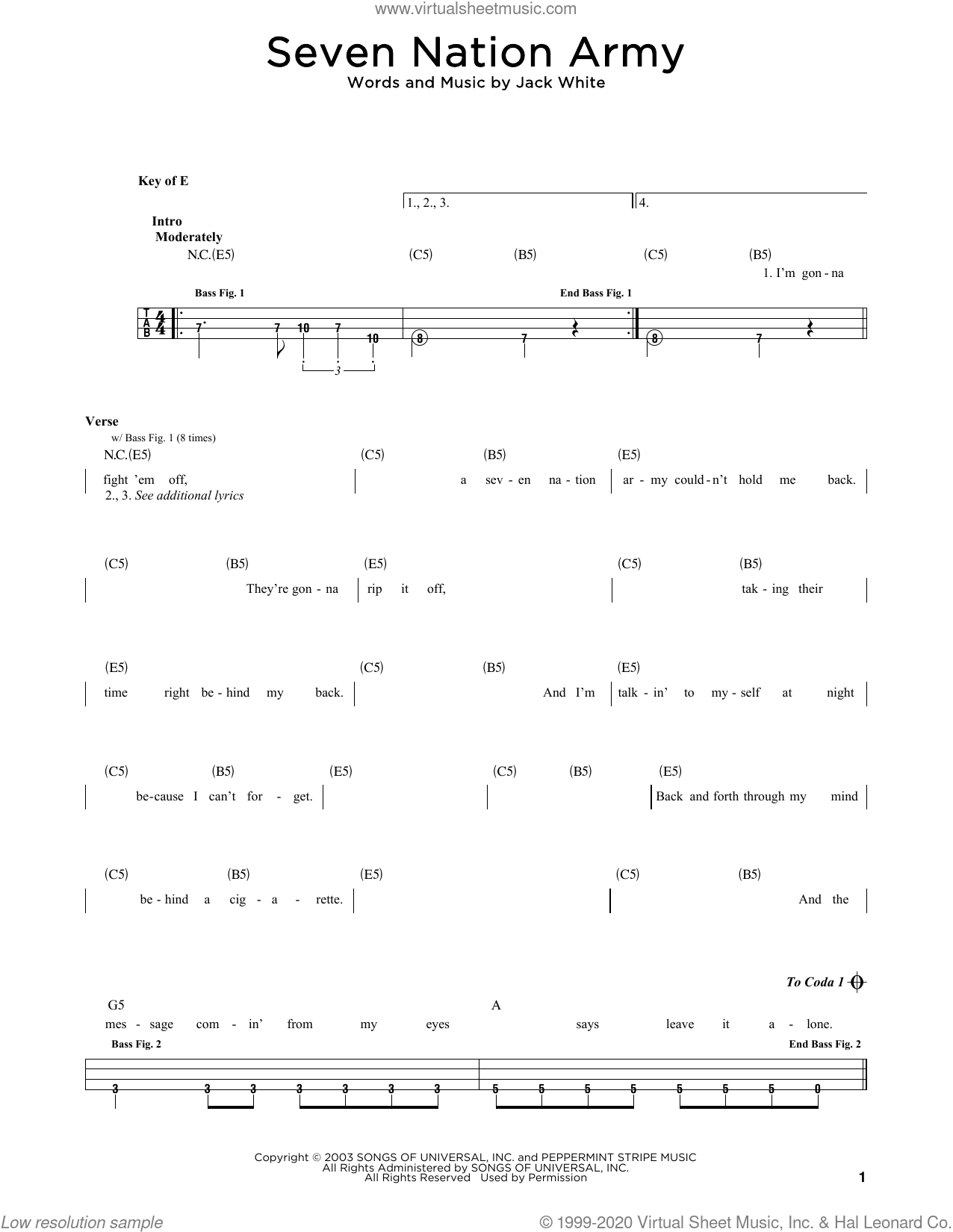 Seven Nation Army sheet music for bass solo by White Stripes and Jack White, intermediate skill level
