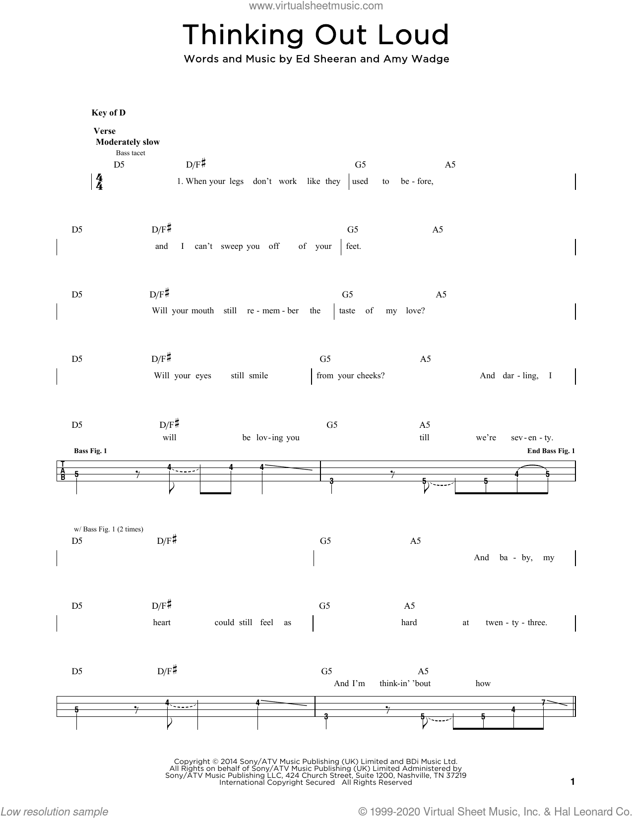 Thinking Out Loud sheet music for bass solo by Ed Sheeran and Amy Wadge, wedding score, intermediate skill level