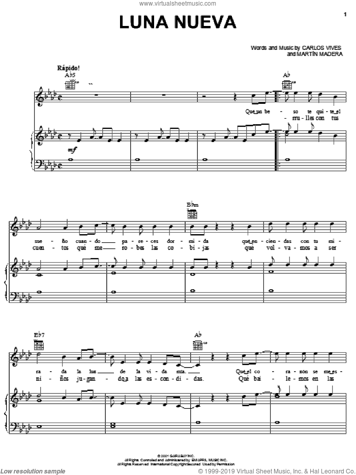 Luna Nueva sheet music for voice, piano or guitar by Carlos Vives and Martin Madera, intermediate skill level