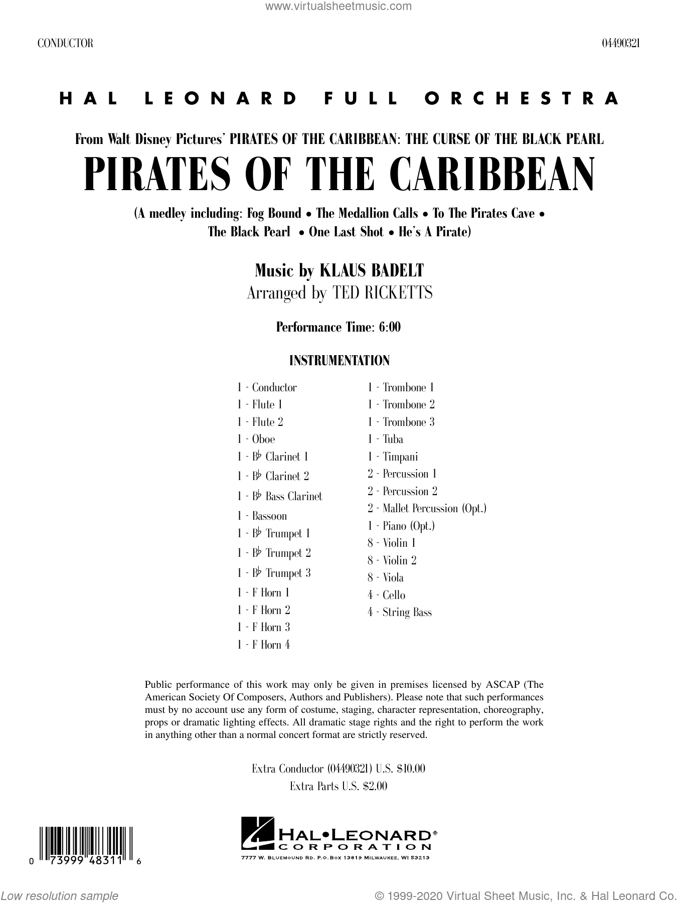 Pirates of the Caribbean (arr. Ted Ricketts) (COMPLETE) sheet music for full orchestra by Klaus Badelt and Ted Ricketts, intermediate skill level