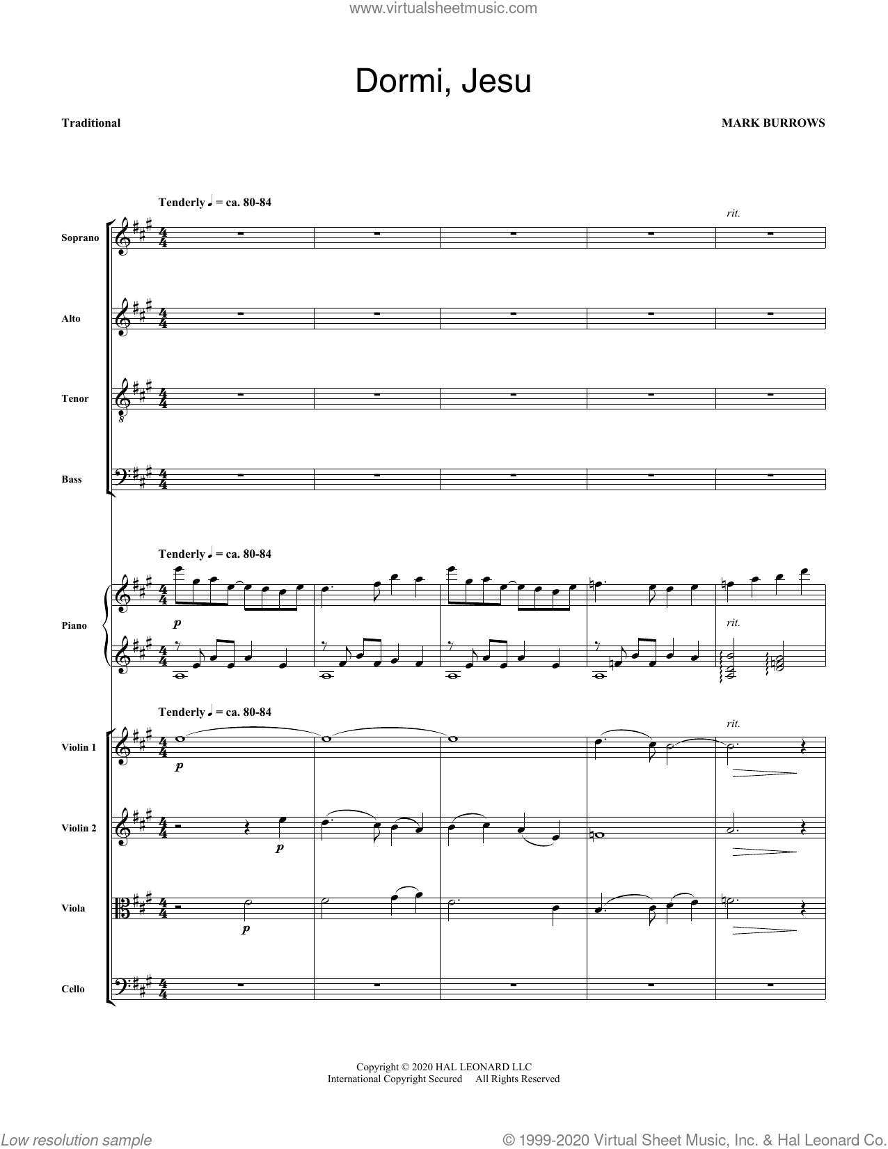 Dormi, Jesu (COMPLETE) sheet music for orchestra/band by Mark Burrows, intermediate skill level