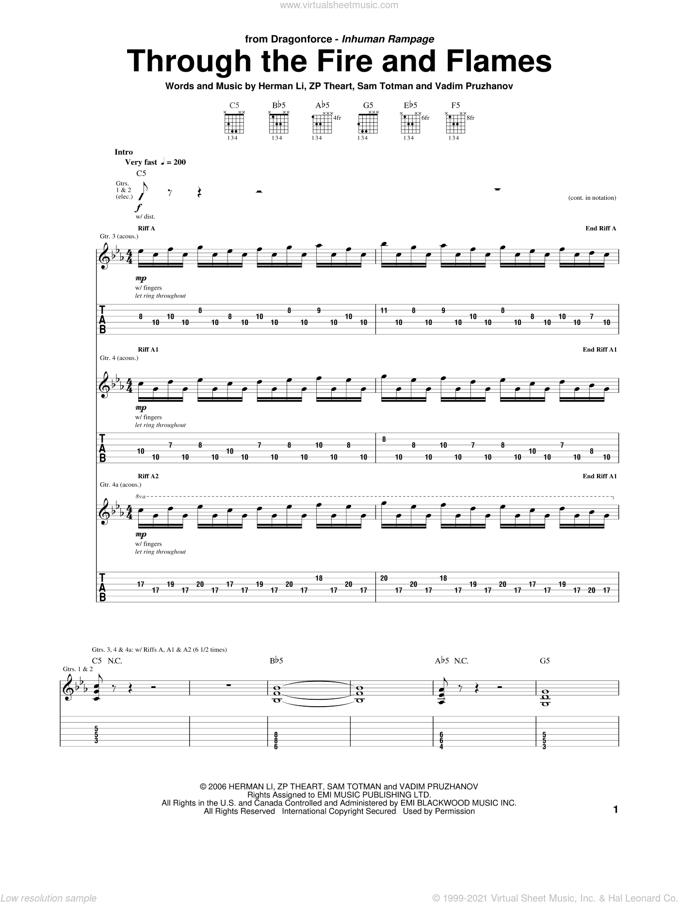 Dragonforce - Through The Fire And Flames sheet music for guitar (tablature)