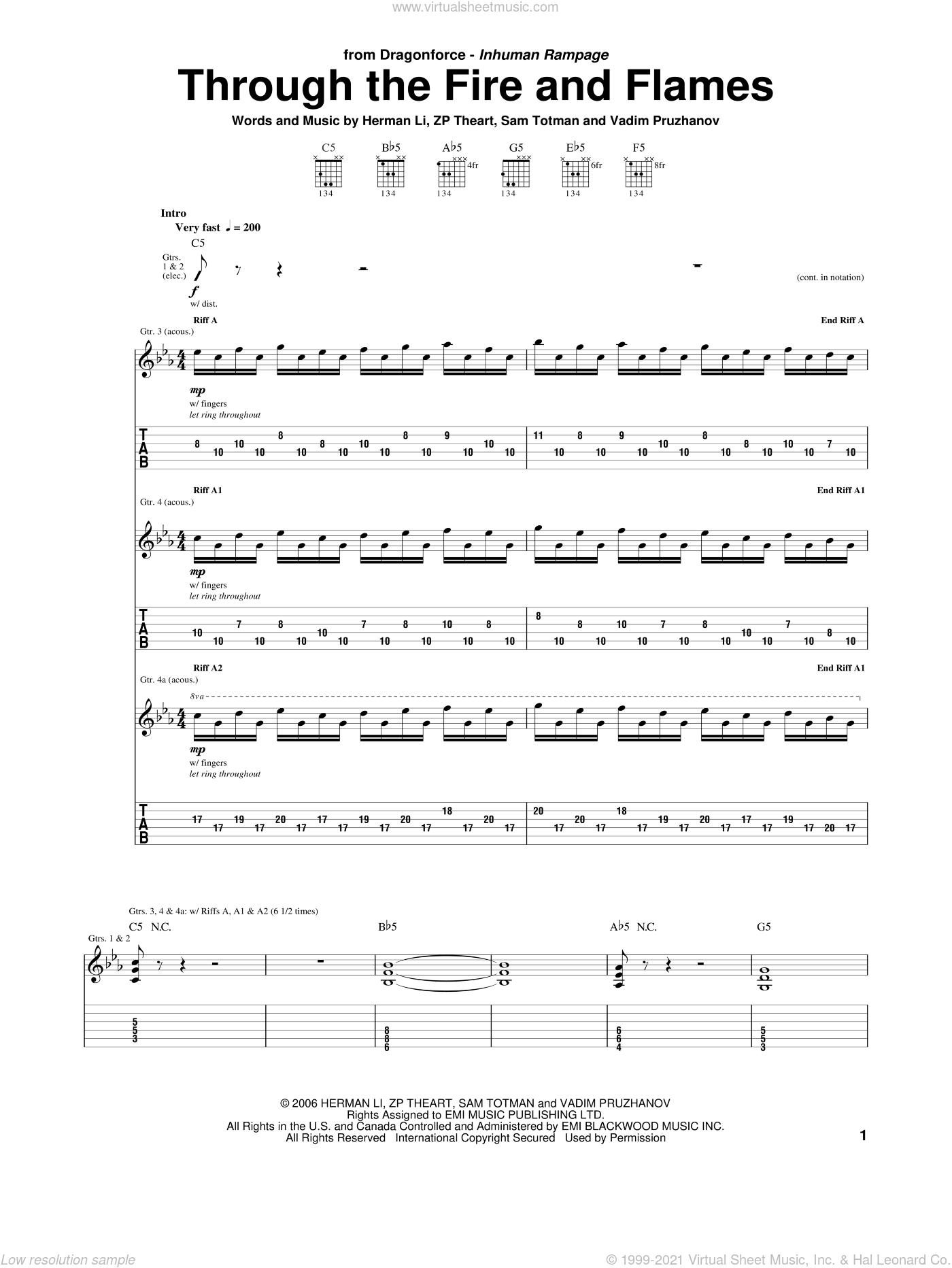Through The Fire And Flames sheet music for guitar (tablature) by Dragonforce, Herman Li, Sam Totman, Vadim Pruzhanov and ZP Theart, intermediate skill level