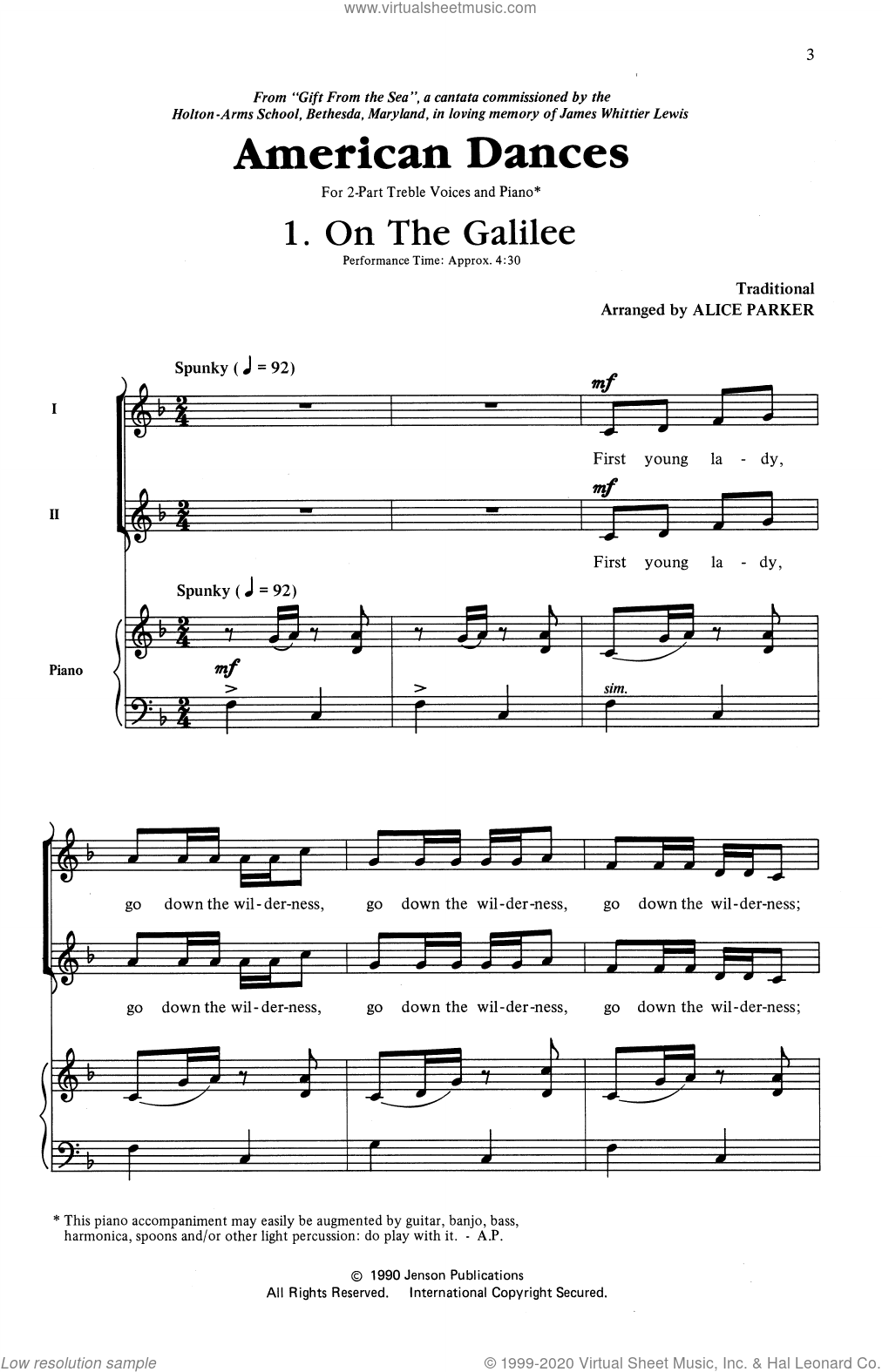 American Dances (Collection) sheet music for choir (2-Part) by Alice Parker, intermediate duet