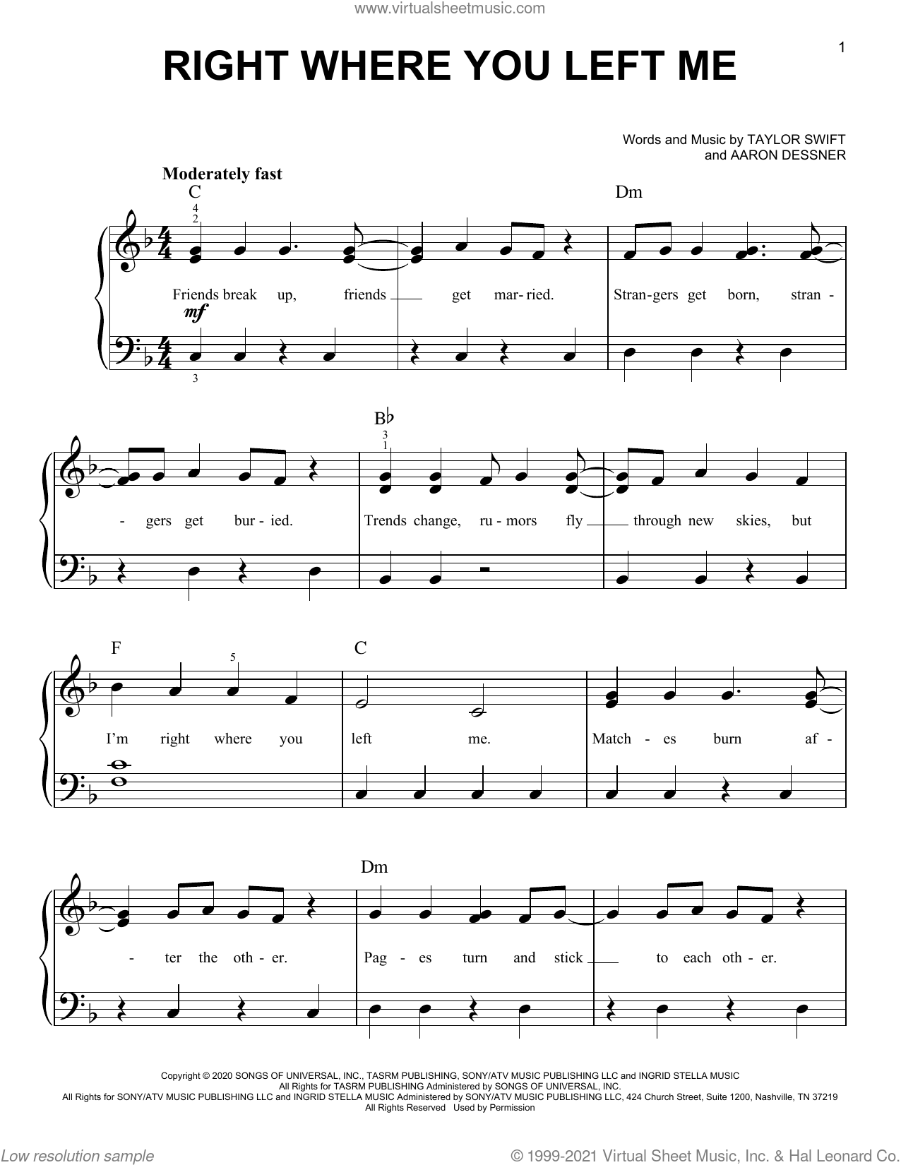 right where you left me sheet music for piano solo by Taylor Swift and Aaron Dessner, easy skill level
