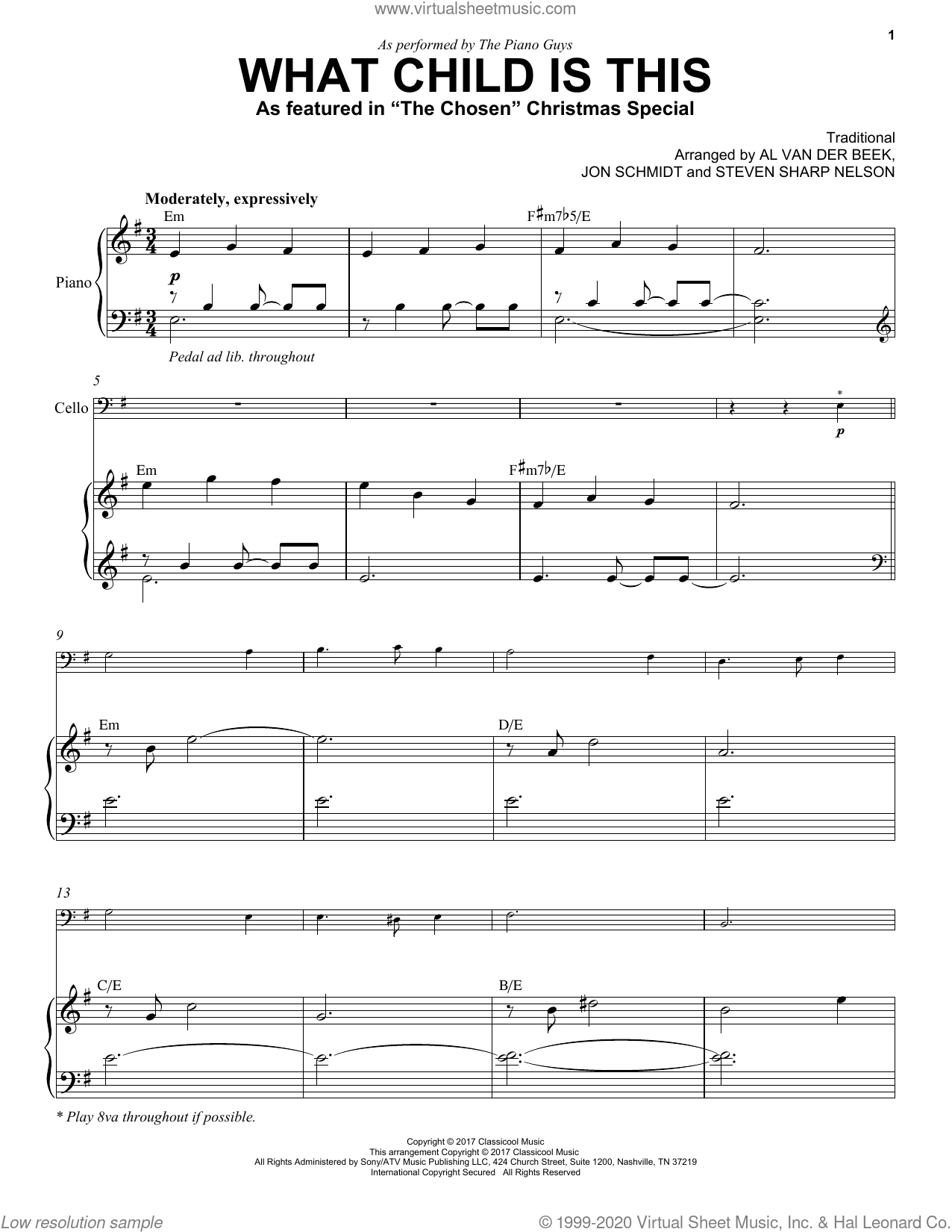 What Child Is This (as featured in 'The Chosen' Christmas Special) sheet music for cello and piano by The Piano Guys, Al van der Beek, Jon Schmidt, Steven Sharp Nelson and Miscellaneous, intermediate skill level