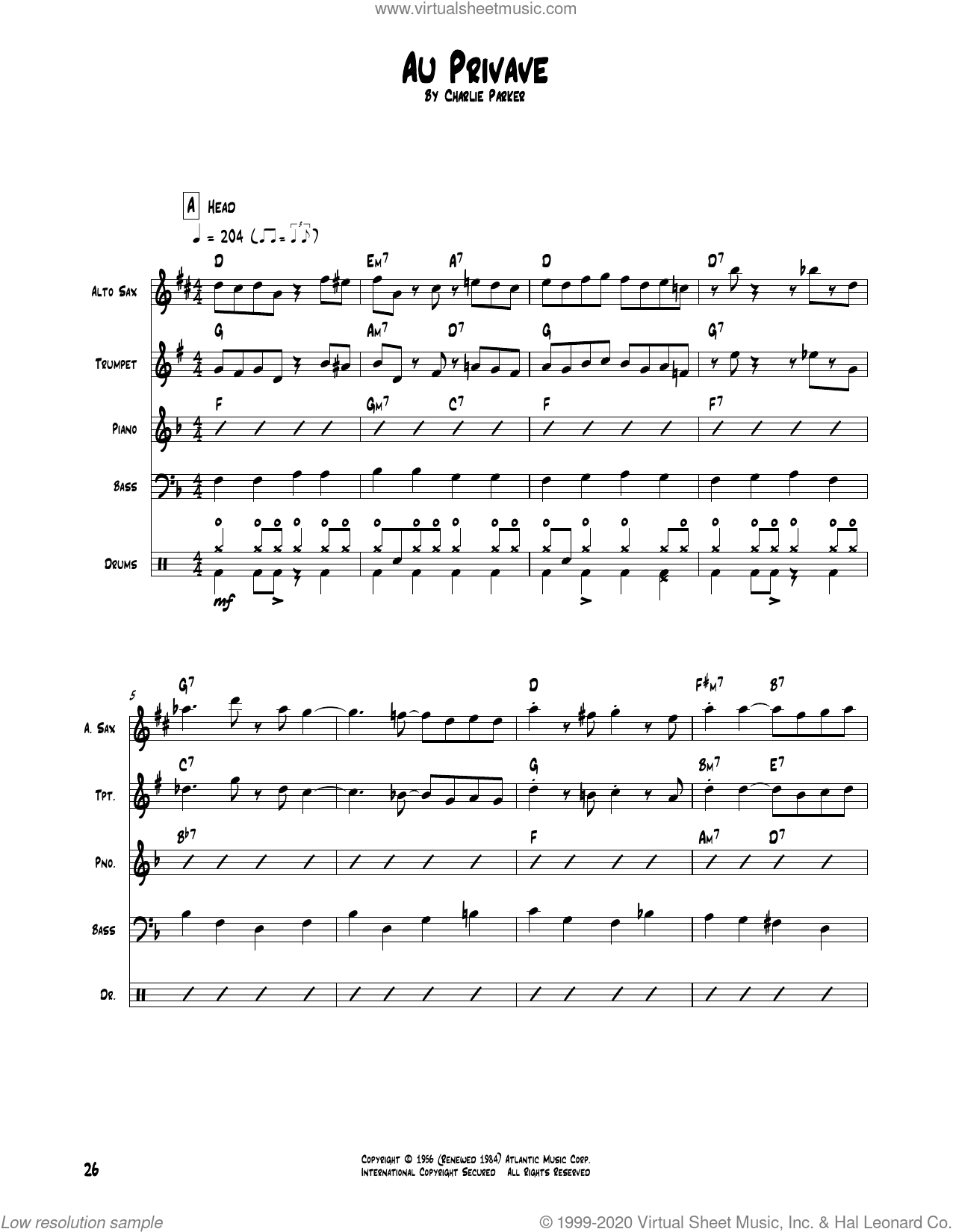 Au Privave sheet music for chamber ensemble (Transcribed Score) by Charlie Parker, intermediate skill level