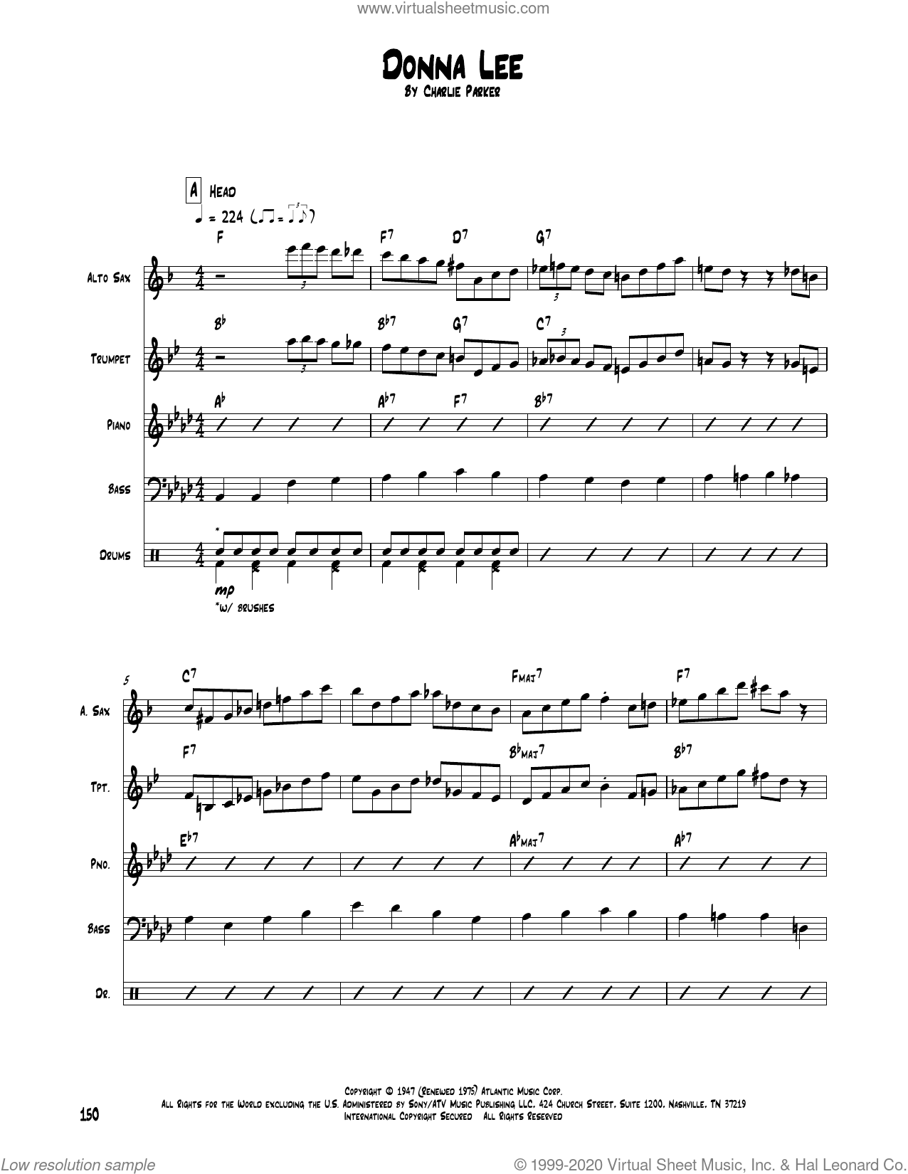 Donna Lee sheet music for chamber ensemble (Transcribed Score) by Charlie Parker, intermediate skill level