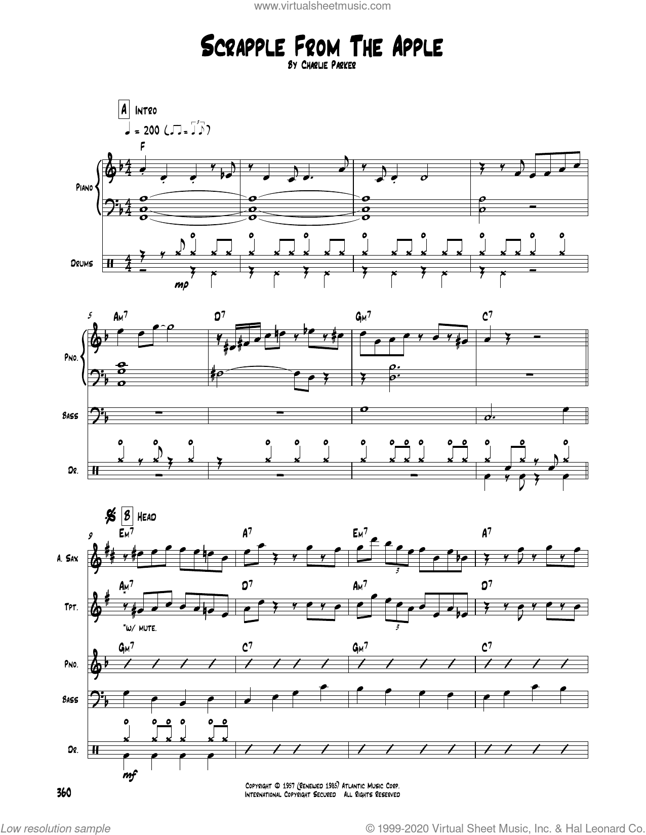 Scrapple From The Apple sheet music for chamber ensemble (Transcribed Score) by Charlie Parker, intermediate skill level