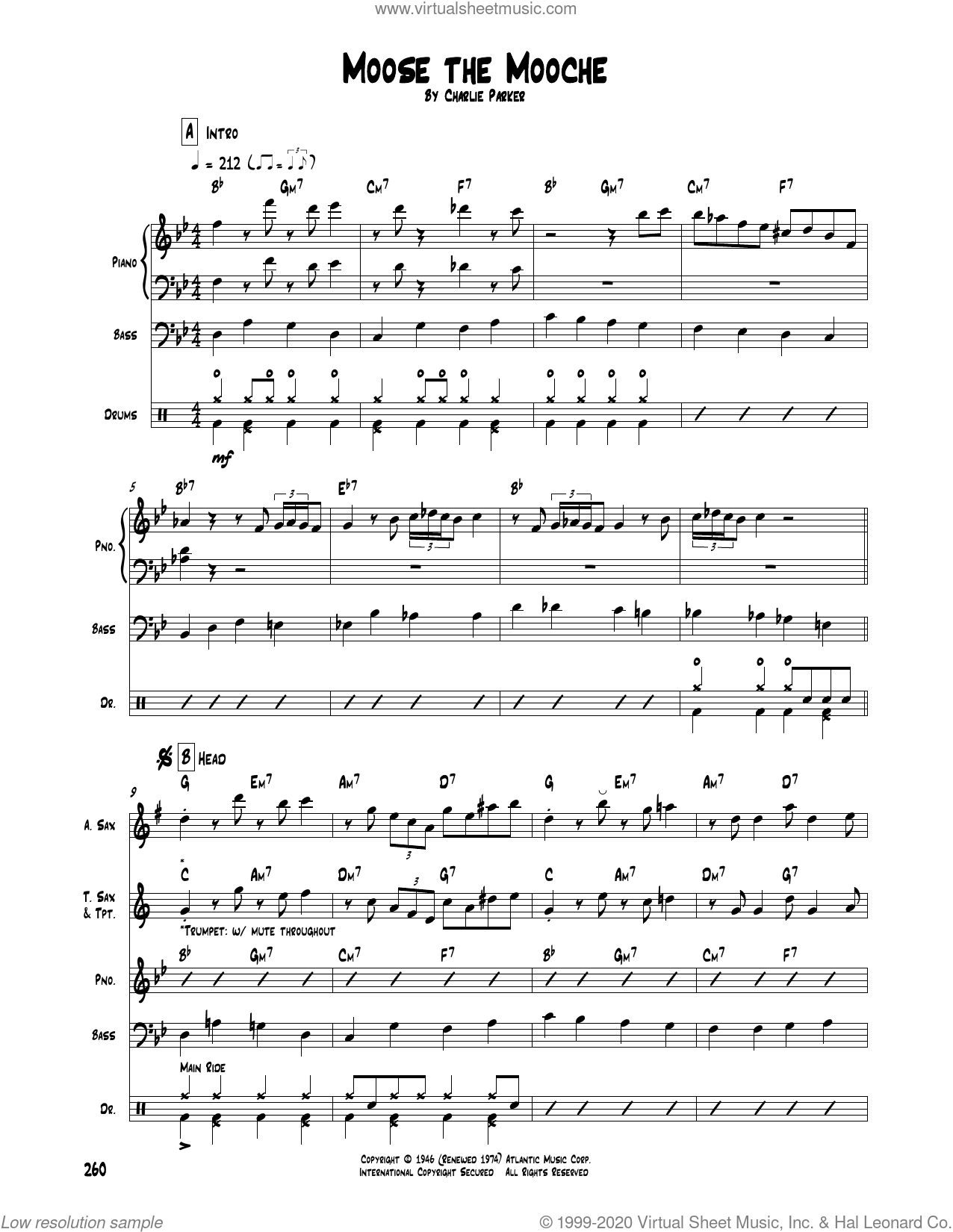 Moose The Mooche sheet music for chamber ensemble (Transcribed Score) by Charlie Parker, intermediate skill level