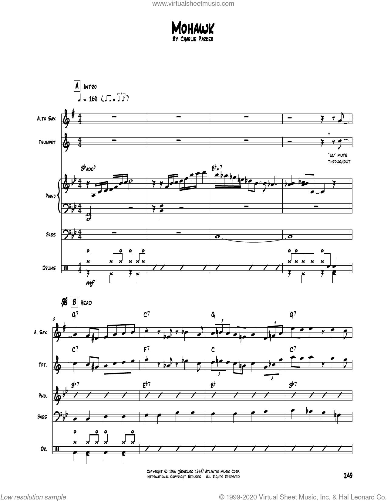 Mohawk sheet music for chamber ensemble (Transcribed Score) by Charlie Parker, intermediate skill level