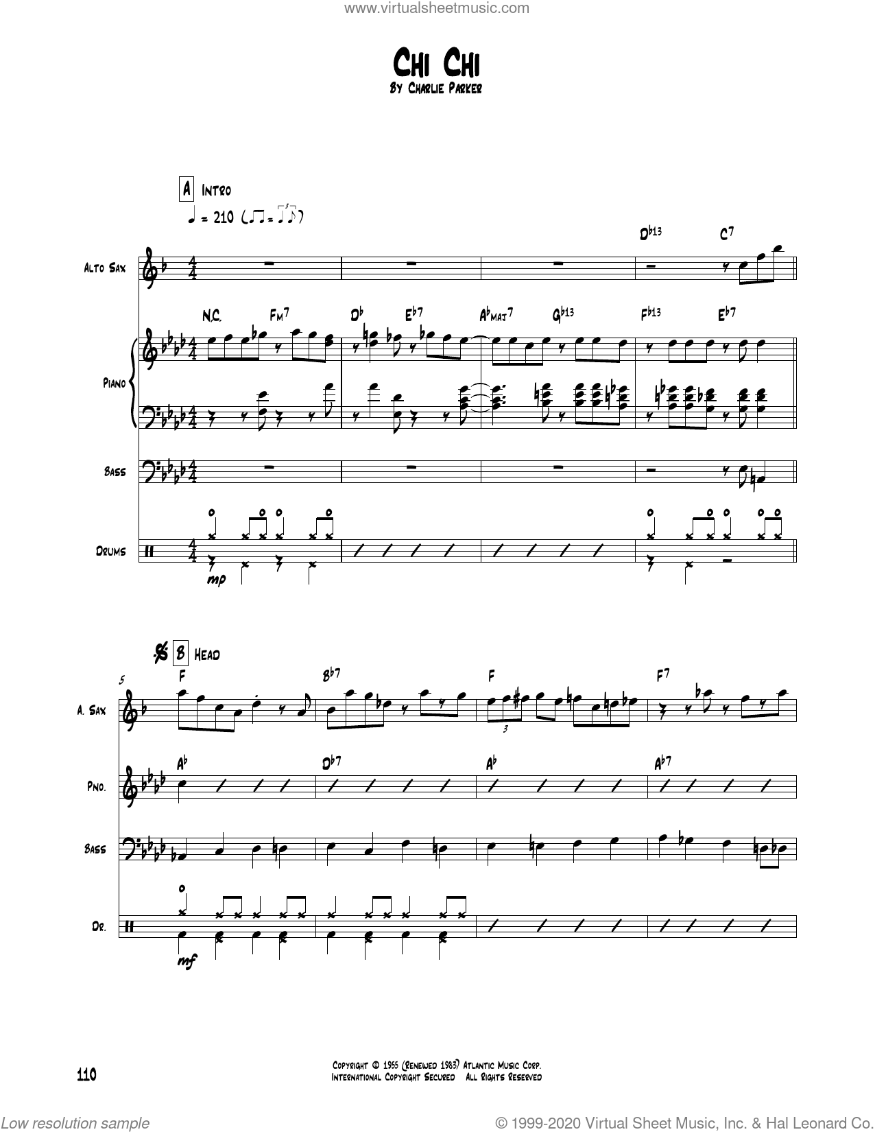 Chi Chi sheet music for chamber ensemble (Transcribed Score) by Charlie Parker, intermediate skill level