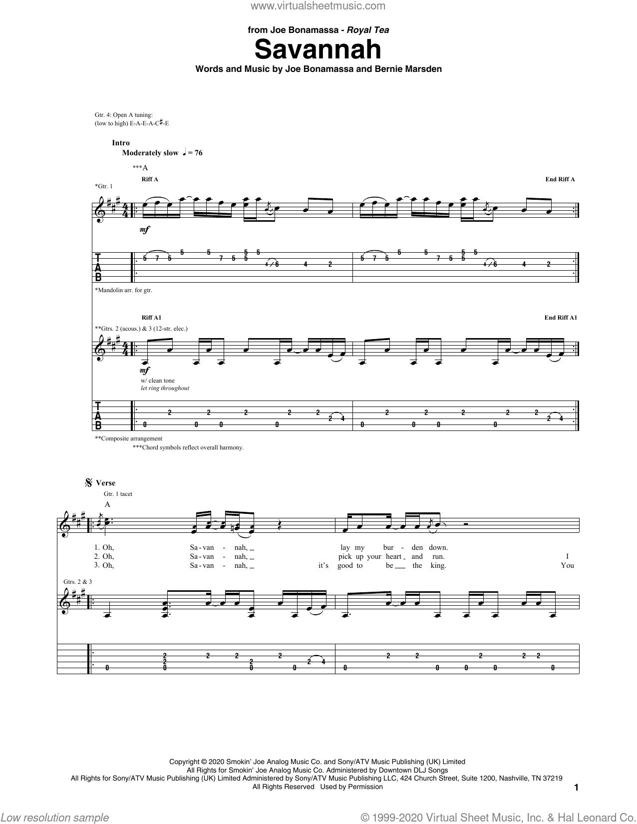 Savannah sheet music for guitar (tablature) by Joe Bonamassa and Bernie Marsden, intermediate skill level
