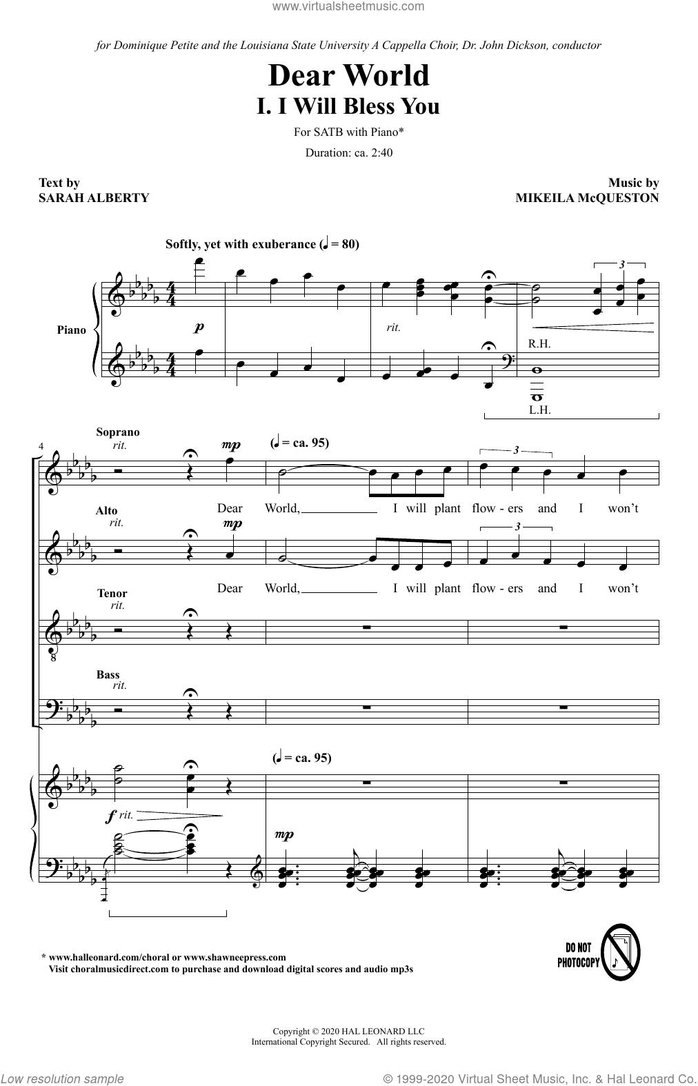 Dear World sheet music for choir (SATB: soprano, alto, tenor, bass) , Braden Whittington, Clara Campbell, Sarah Alberty, Alana Scott, Hannah Rice and Mikeila McQueston, intermediate skill level