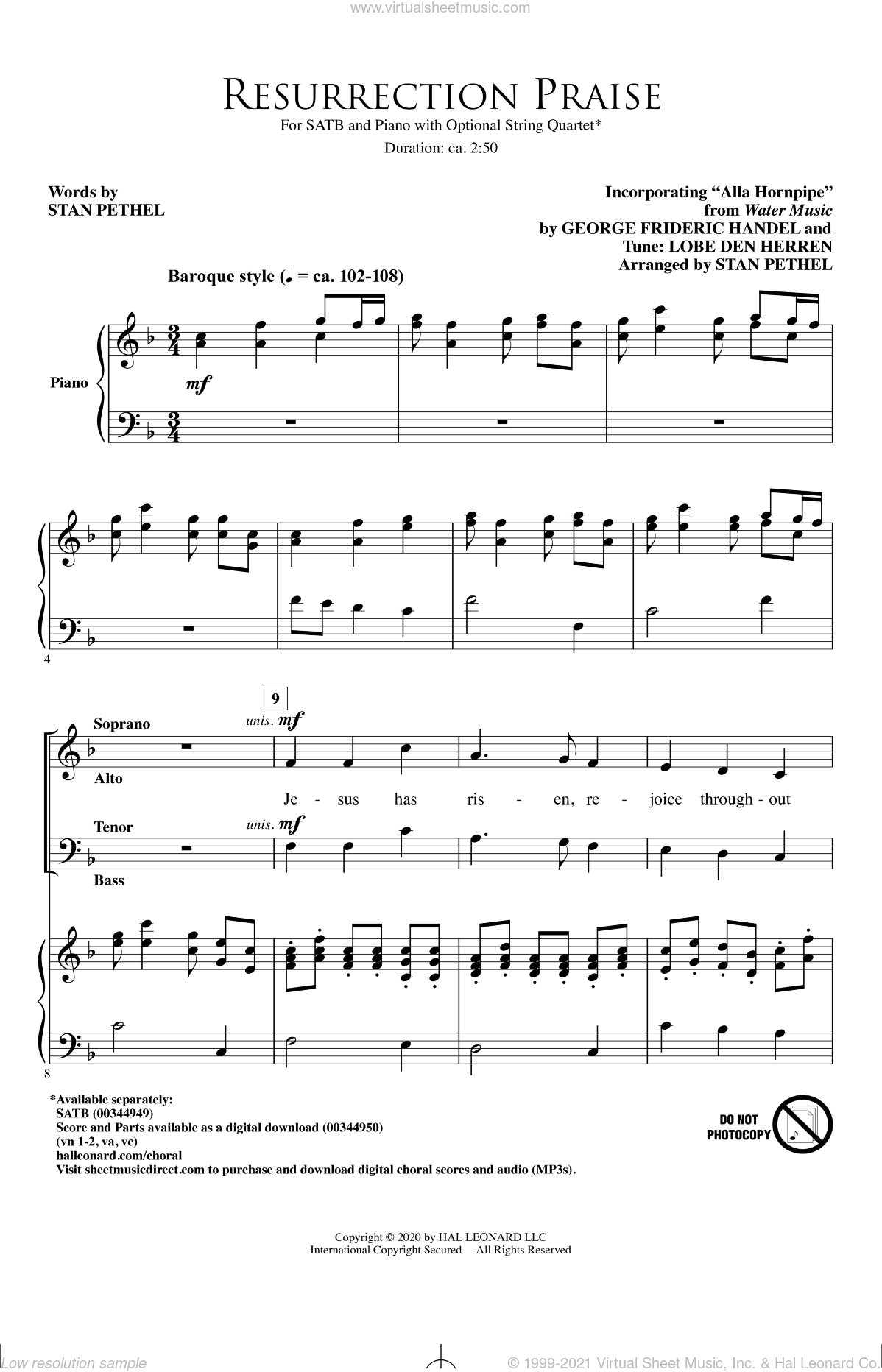 Resurrection Praise sheet music for choir (SATB: soprano, alto, tenor, bass) by George Frideric Handel and Stan Pethel, intermediate skill level
