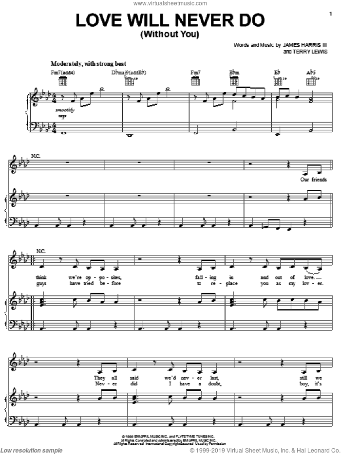 Love Will Never Do (Without You) sheet music for voice, piano or guitar by Janet Jackson, James Harris and Terry Lewis. Score Image Preview.