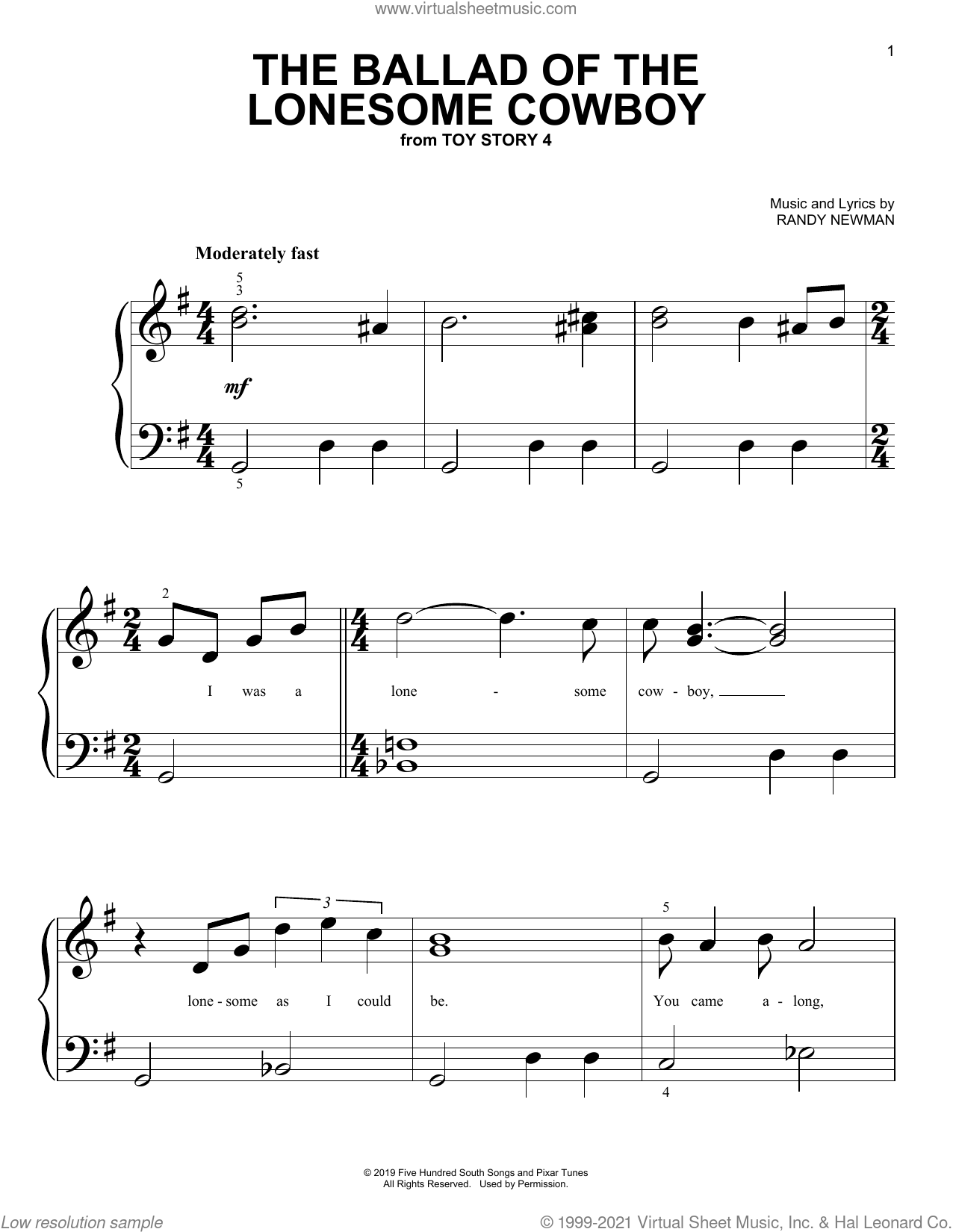 The Ballad Of The Lonesome Cowboy (from Toy Story 4) sheet music for piano solo (big note book) by Chris Stapleton and Randy Newman, easy piano (big note book)