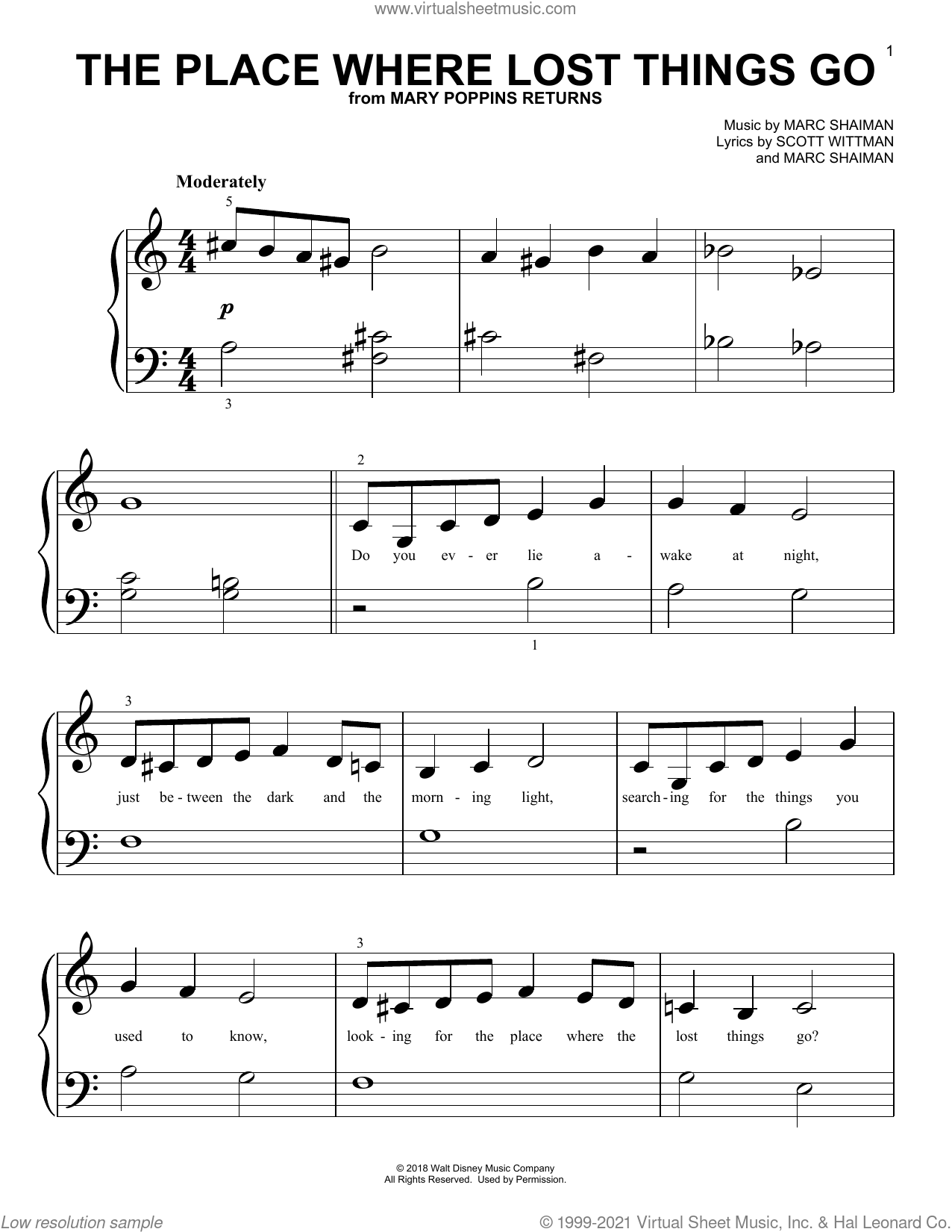 The Place Where Lost Things Go (from Mary Poppins Returns) sheet music for piano solo (big note book) by Emily Blunt, Marc Shaiman and Scott Wittman, easy piano (big note book)
