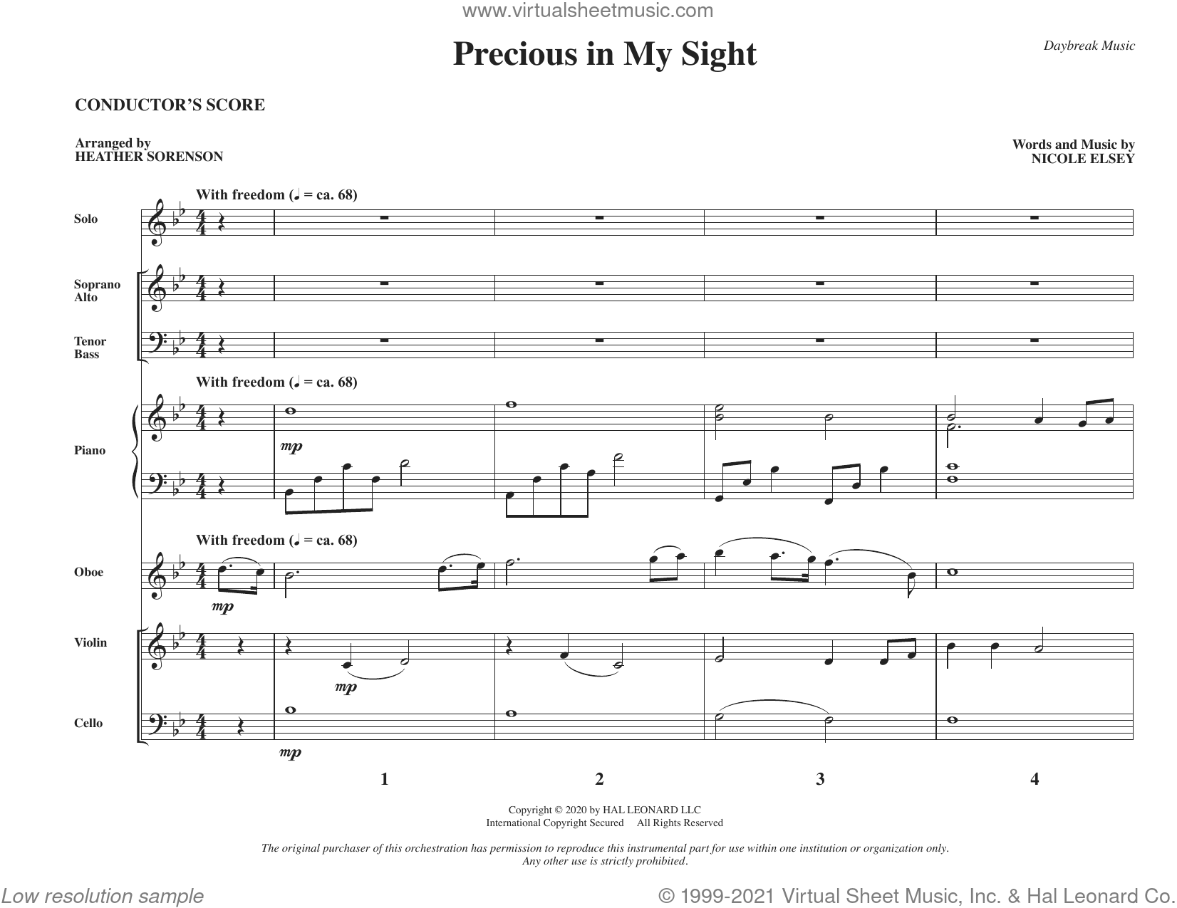 Precious in My Sight (arr. Heather Sorenson) (COMPLETE) sheet music for orchestra/band by Heather Sorenson and Nicole Elsey, intermediate skill level