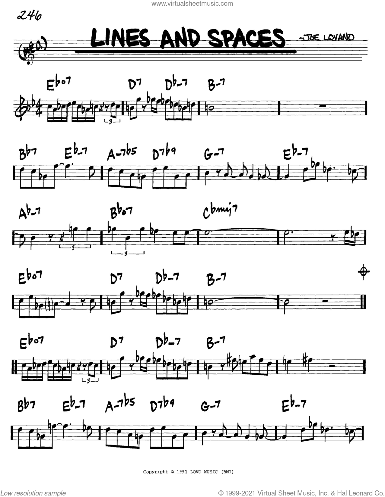 Lines And Spaces sheet music for voice and other instruments (in C) by Joe Lovano, intermediate skill level