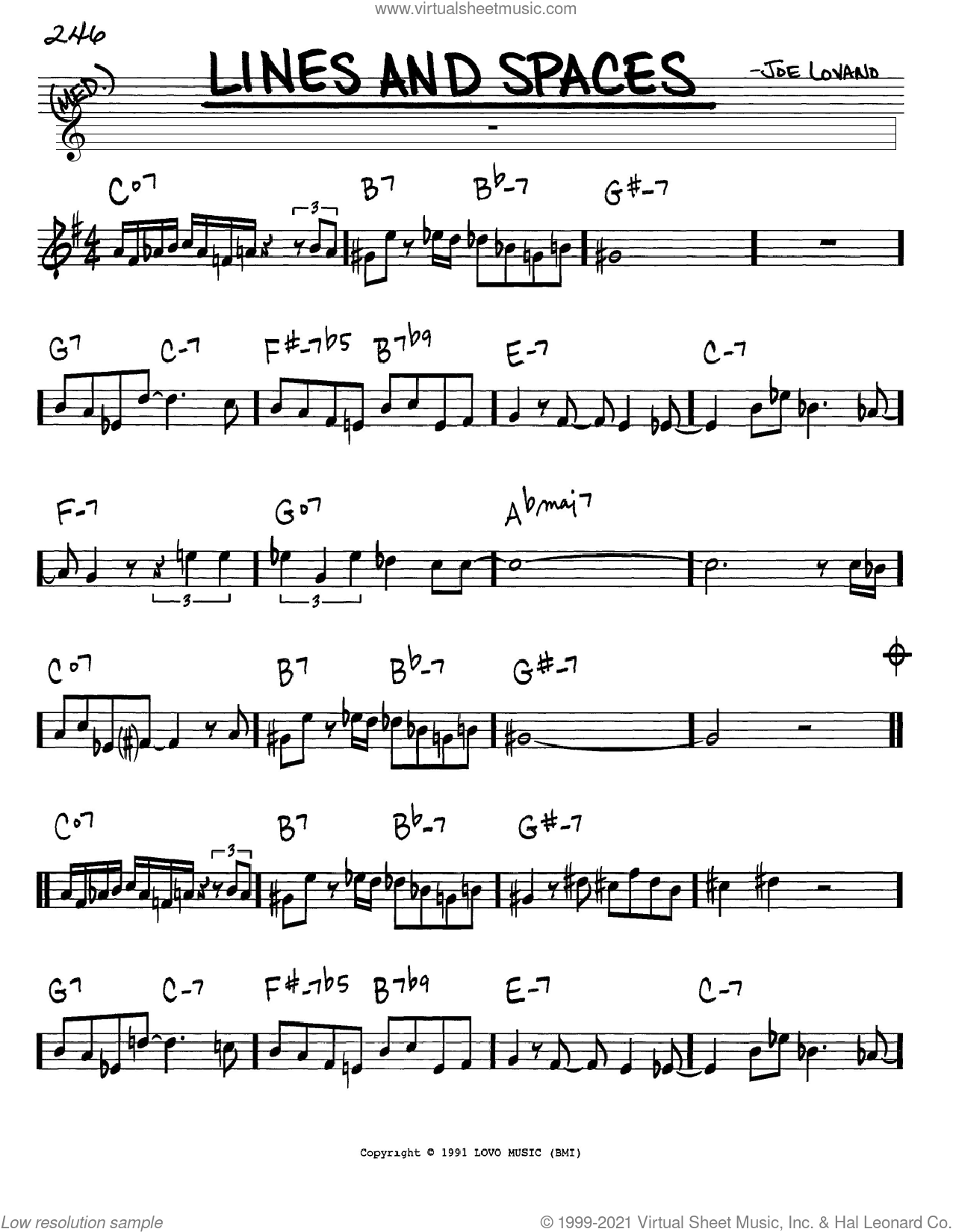 Lines And Spaces sheet music for voice and other instruments (in Eb) by Joe Lovano, intermediate skill level