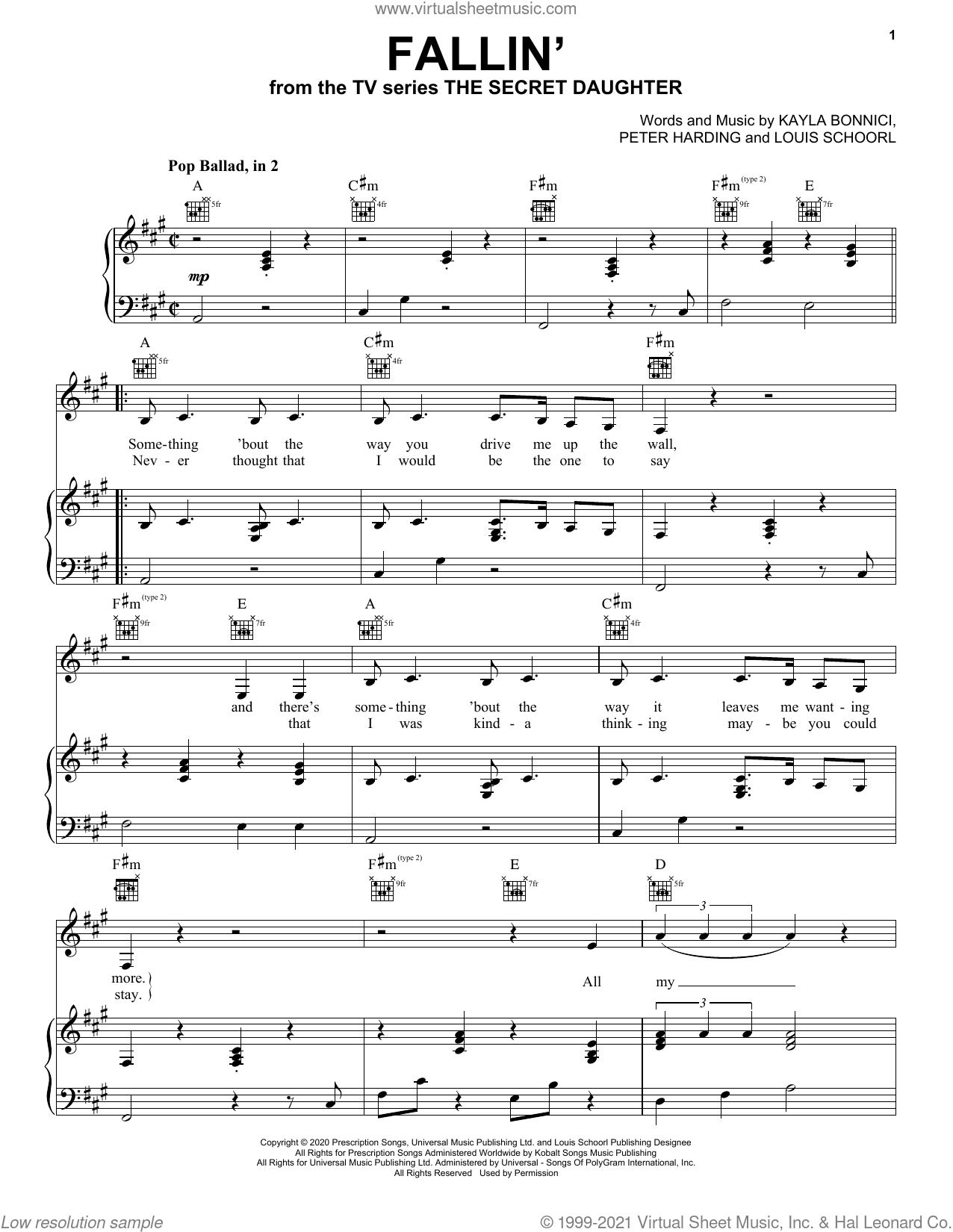 Fallin' (from the TV series The Secret Daughter) sheet music for voice, piano or guitar by Jessica Mauboy, Kayla Bonnici, Louis Schoorl and Peter Harding, intermediate skill level