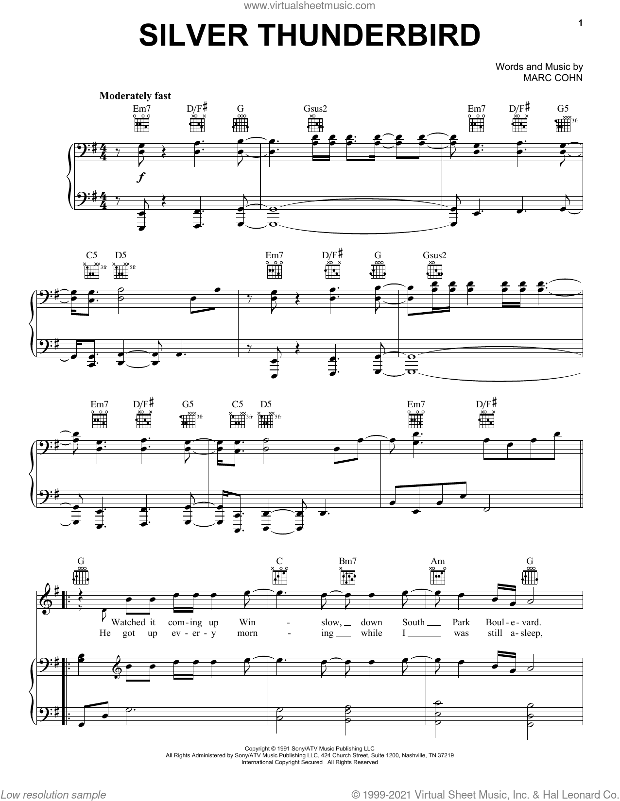 Silver Thunderbird sheet music for voice, piano or guitar by Marc Cohn, intermediate skill level