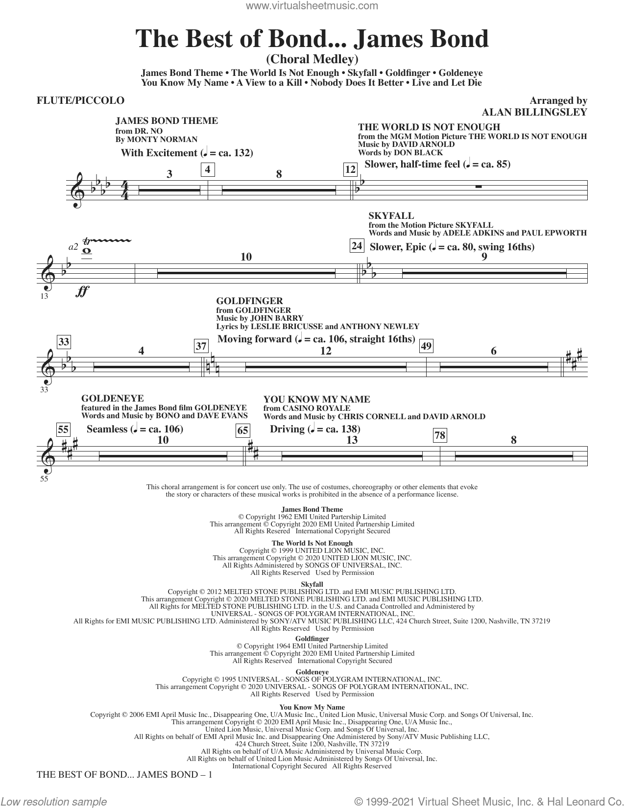 The Best Of Bond... James Bond (Choral Medley) (complete set of parts) sheet music for orchestra/band by Alan Billingsley, intermediate skill level