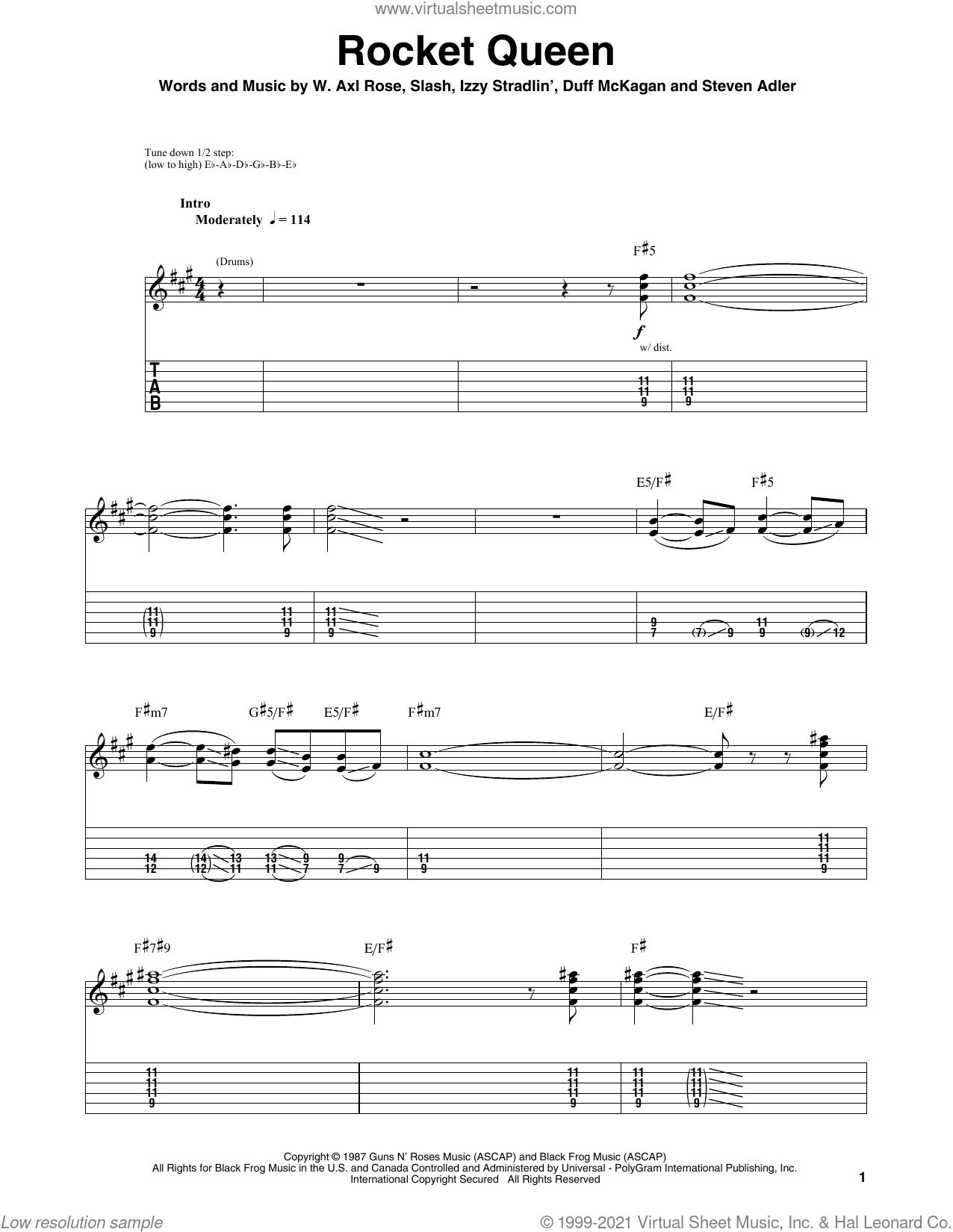 Rocket Queen sheet music for guitar (tablature, play-along) by Guns N' Roses, Axl Rose, Duff McKagan, Slash and Steven Adler, intermediate skill level