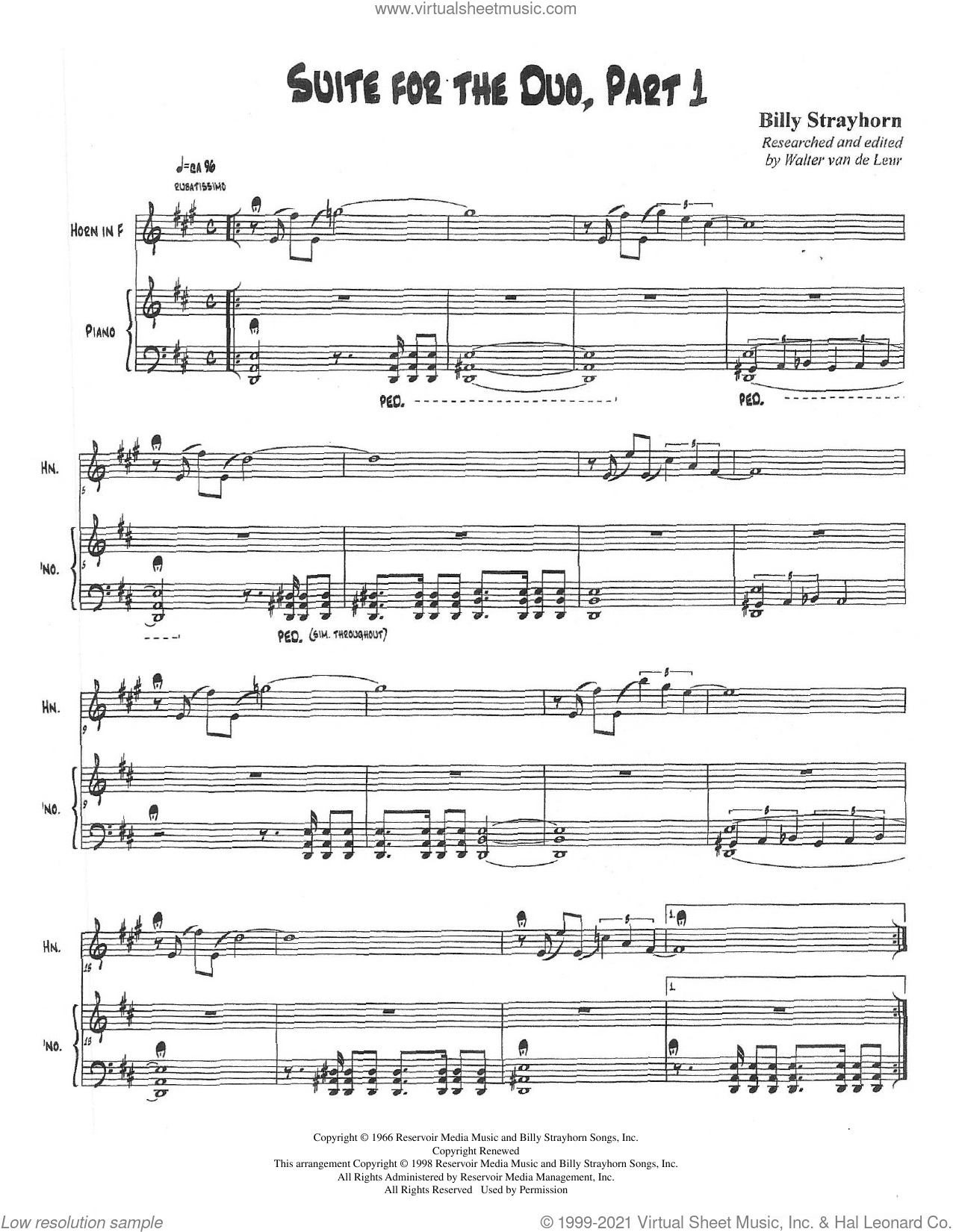 Suite For The Duo (Parts 1-3) sheet music for horn and piano (french horn) by Billy Strayhorn and Walter van de Leur, intermediate skill level