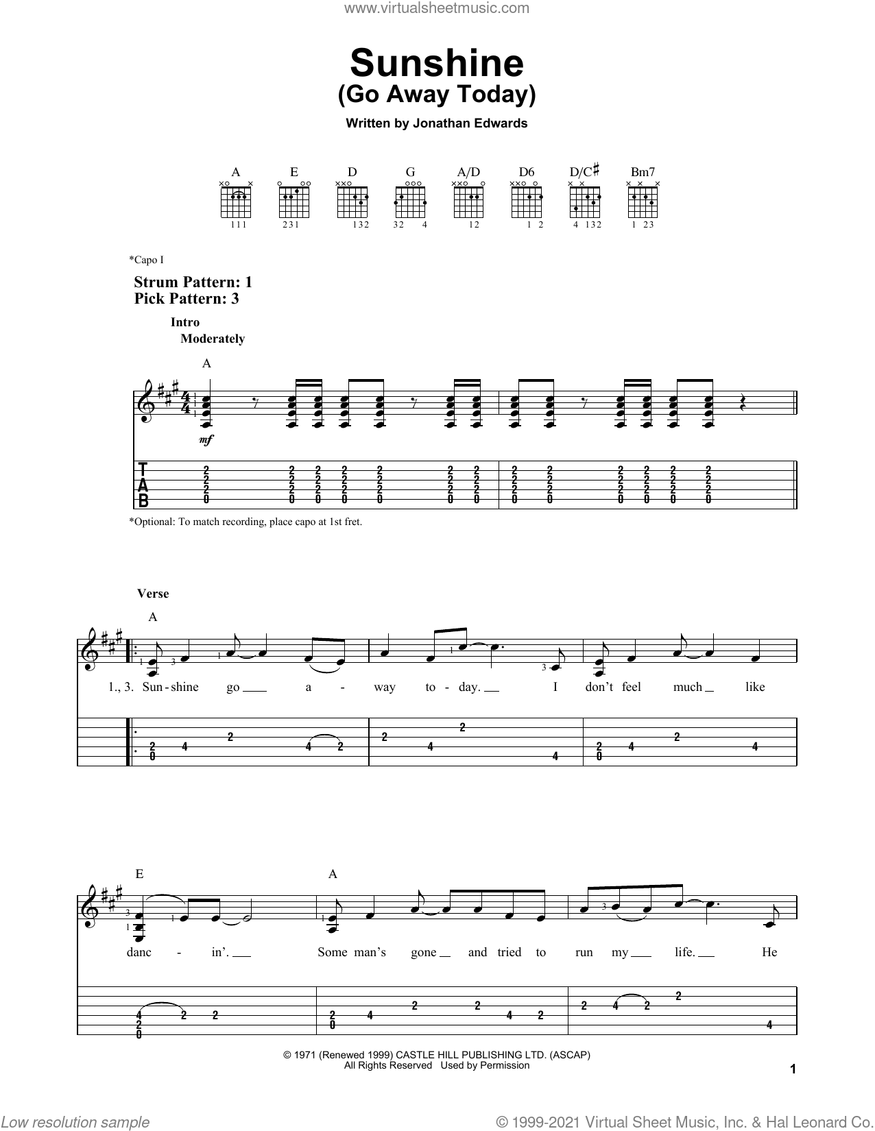 Sunshine (Go Away Today) sheet music for guitar solo (easy tablature) by Jonathan Edwards, easy guitar (easy tablature)