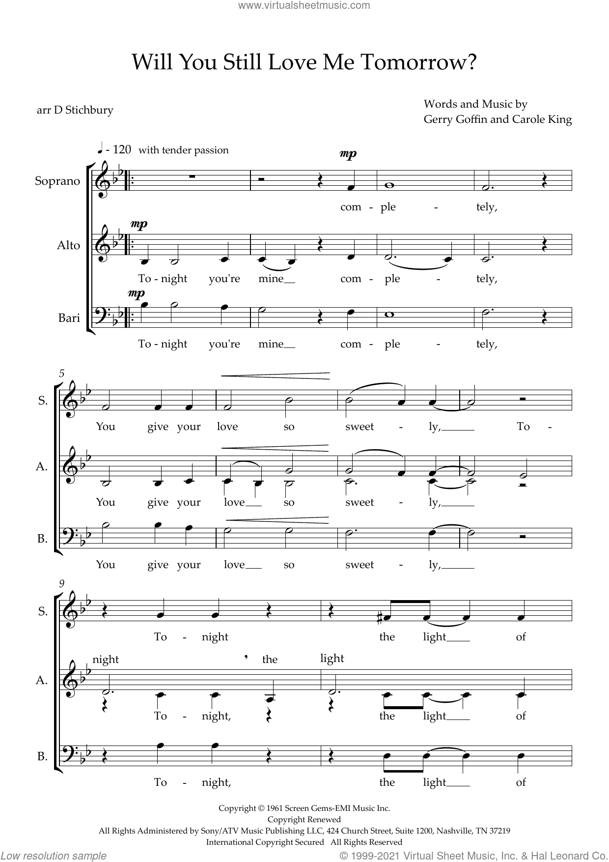 Will You Love Me Tomorrow (Will You Still Love Me Tomorrow) (arr. Dom Stichbury) sheet music for choir (SAB: soprano, alto, bass) by The Shirelles, Dom Stichbury, Carole King and Gerry Goffin, intermediate skill level