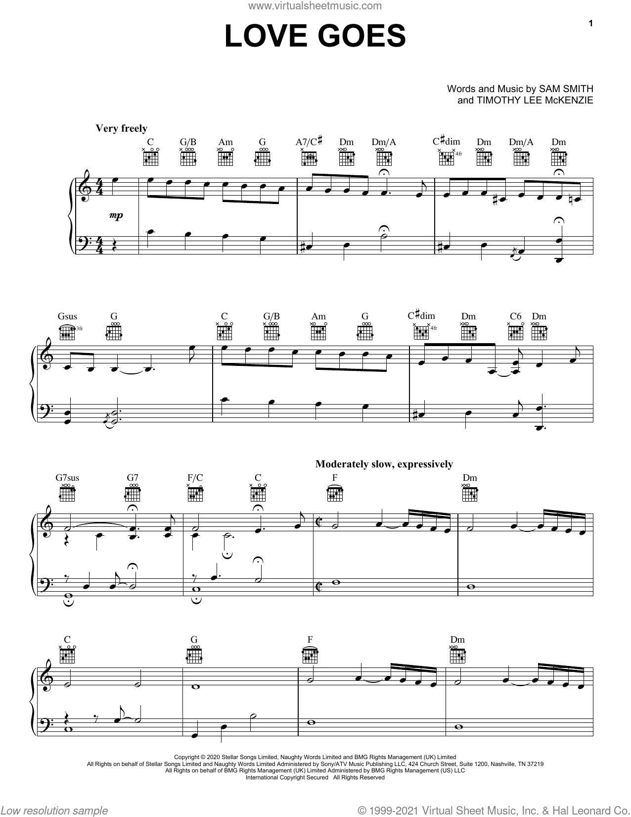 Love Goes (feat. Labrinth) sheet music for voice, piano or guitar by Sam Smith, Labrinth and Timothy Lee McKenzie, intermediate skill level