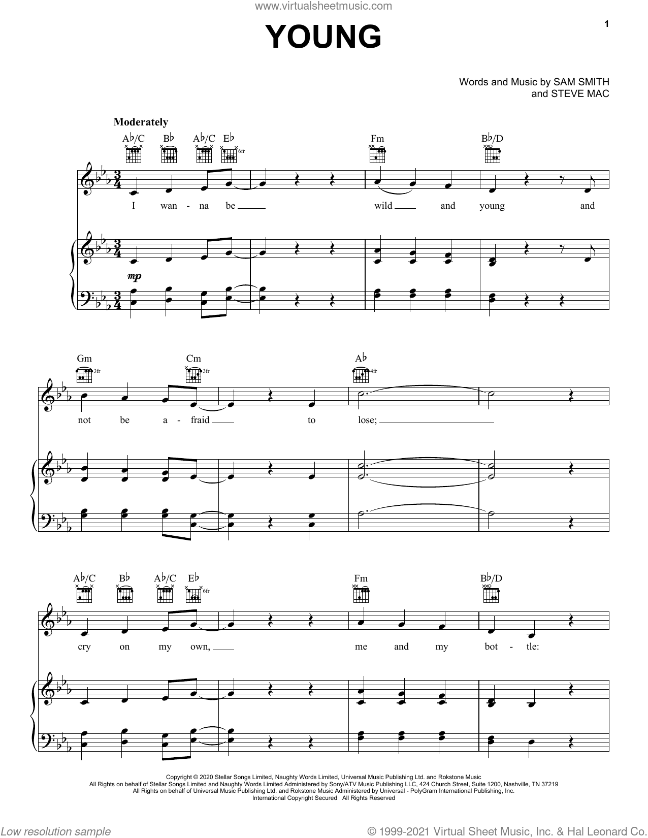 Young sheet music for voice, piano or guitar by Sam Smith and Steve Mac, intermediate skill level