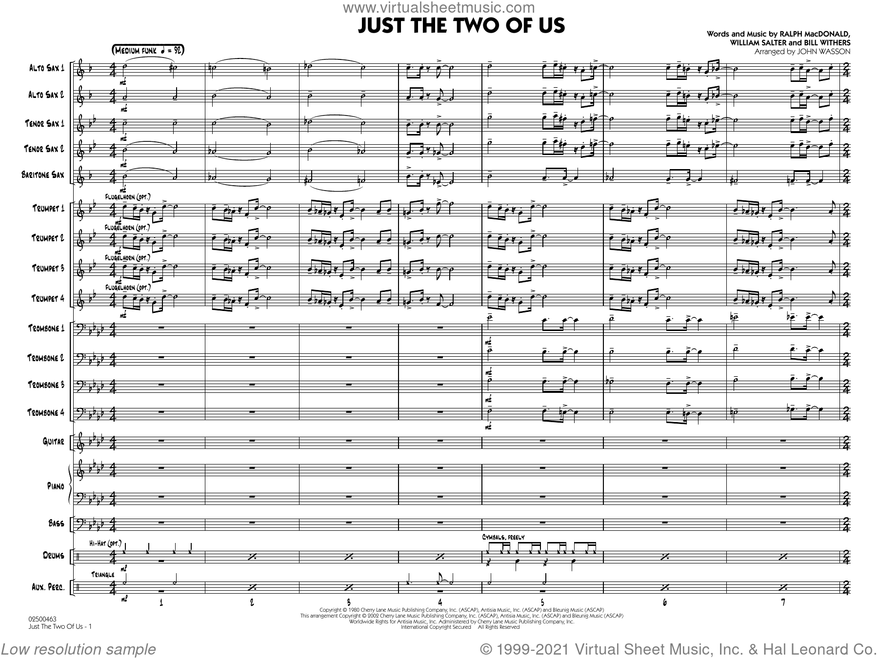 Just the Two of Us (arr. John Wasson) (COMPLETE) sheet music for jazz band by Bill Withers, Grover Washington Jr. feat. Bill Withers, John Wasson, Ralph MacDonald and William Salter, intermediate skill level