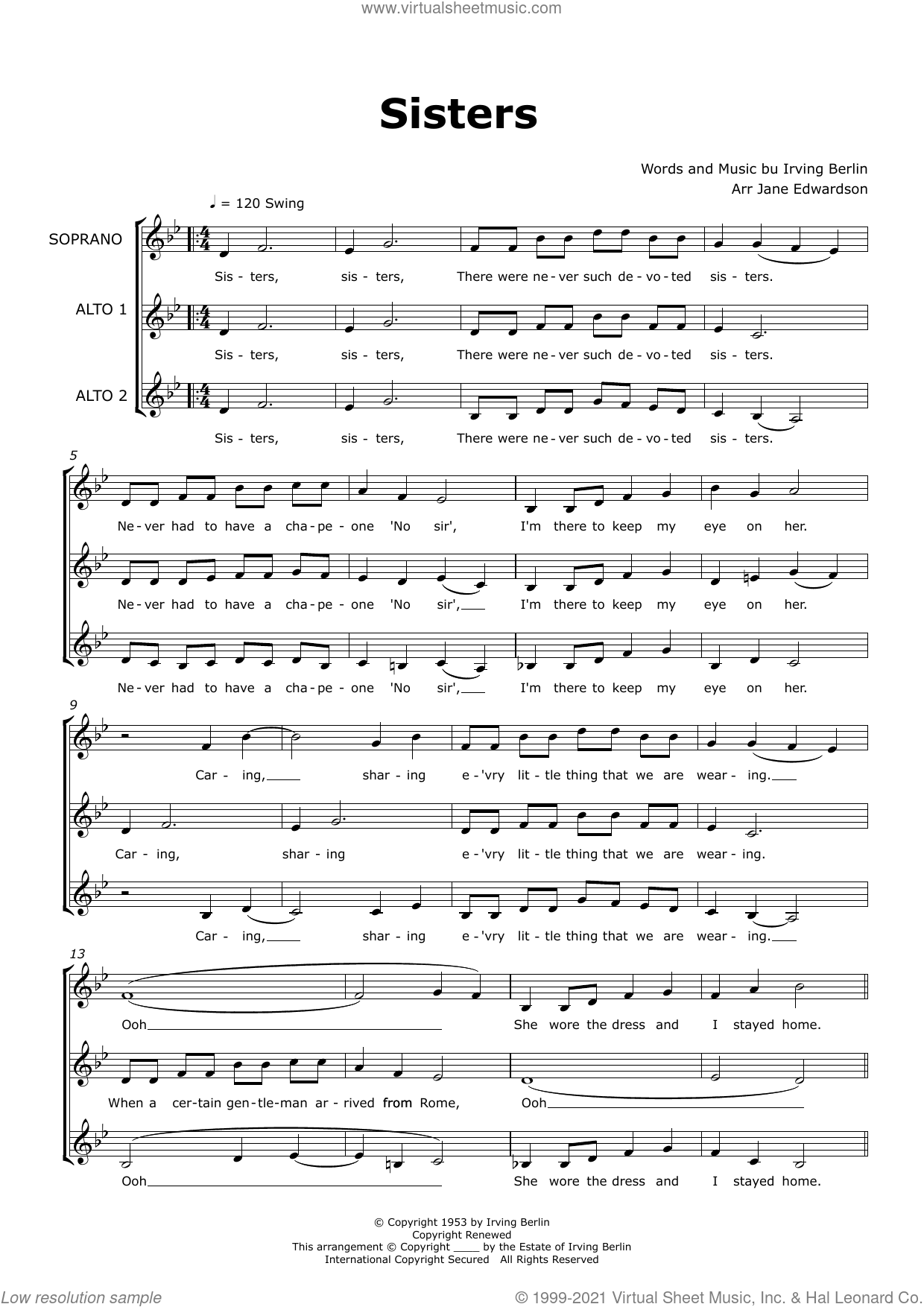 Sisters (arr. Jane Edwardson) sheet music for choir (SAA) by Rosemary Clooney, Jane Edwardson and Irving Berlin, intermediate skill level