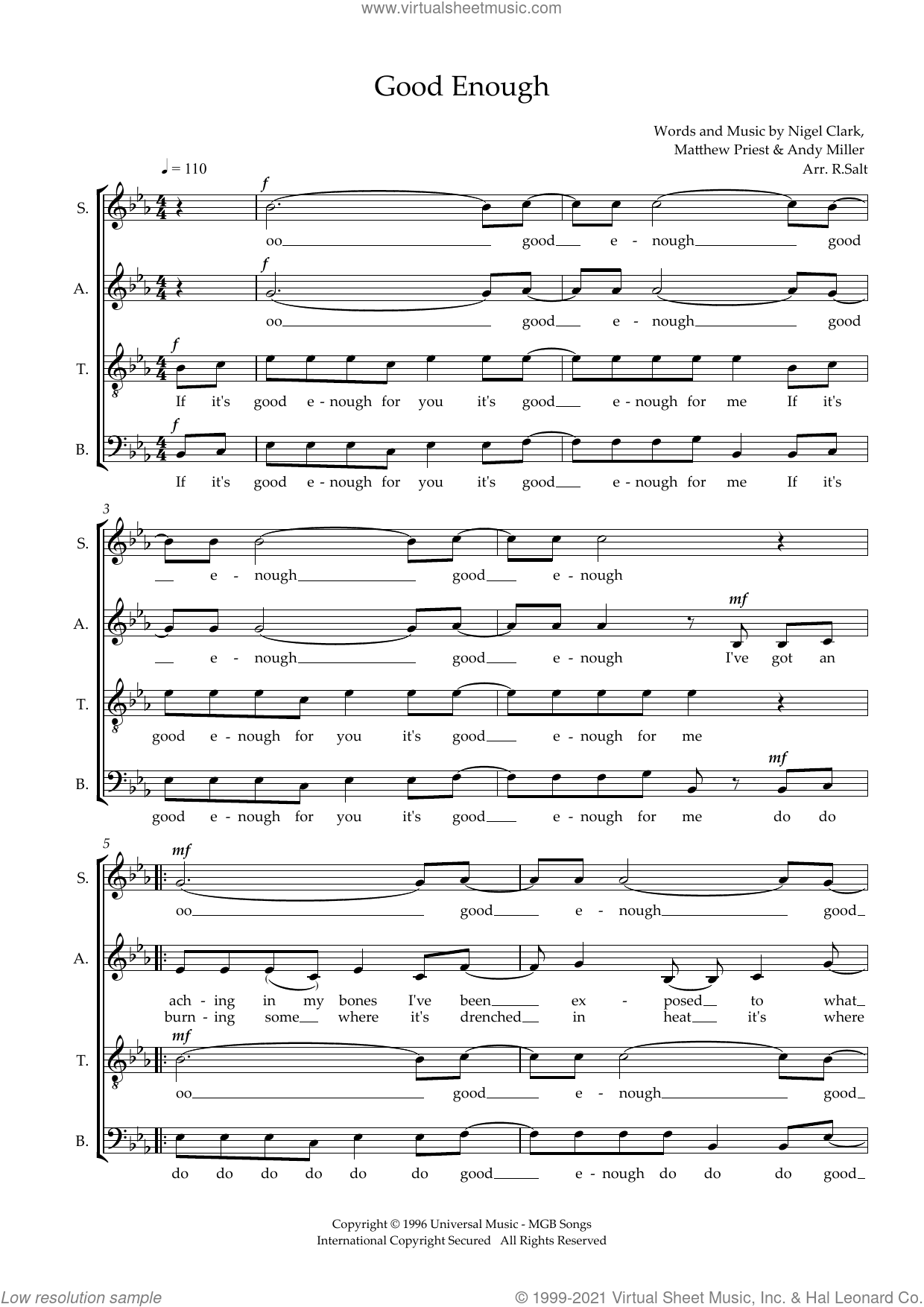 Good Enough (arr. Richard Salt) sheet music for choir (SATB: soprano, alto, tenor, bass) by Dodgy, Richard Salt, Andy Miller, Mathew Priest and Nigel Clark, intermediate skill level